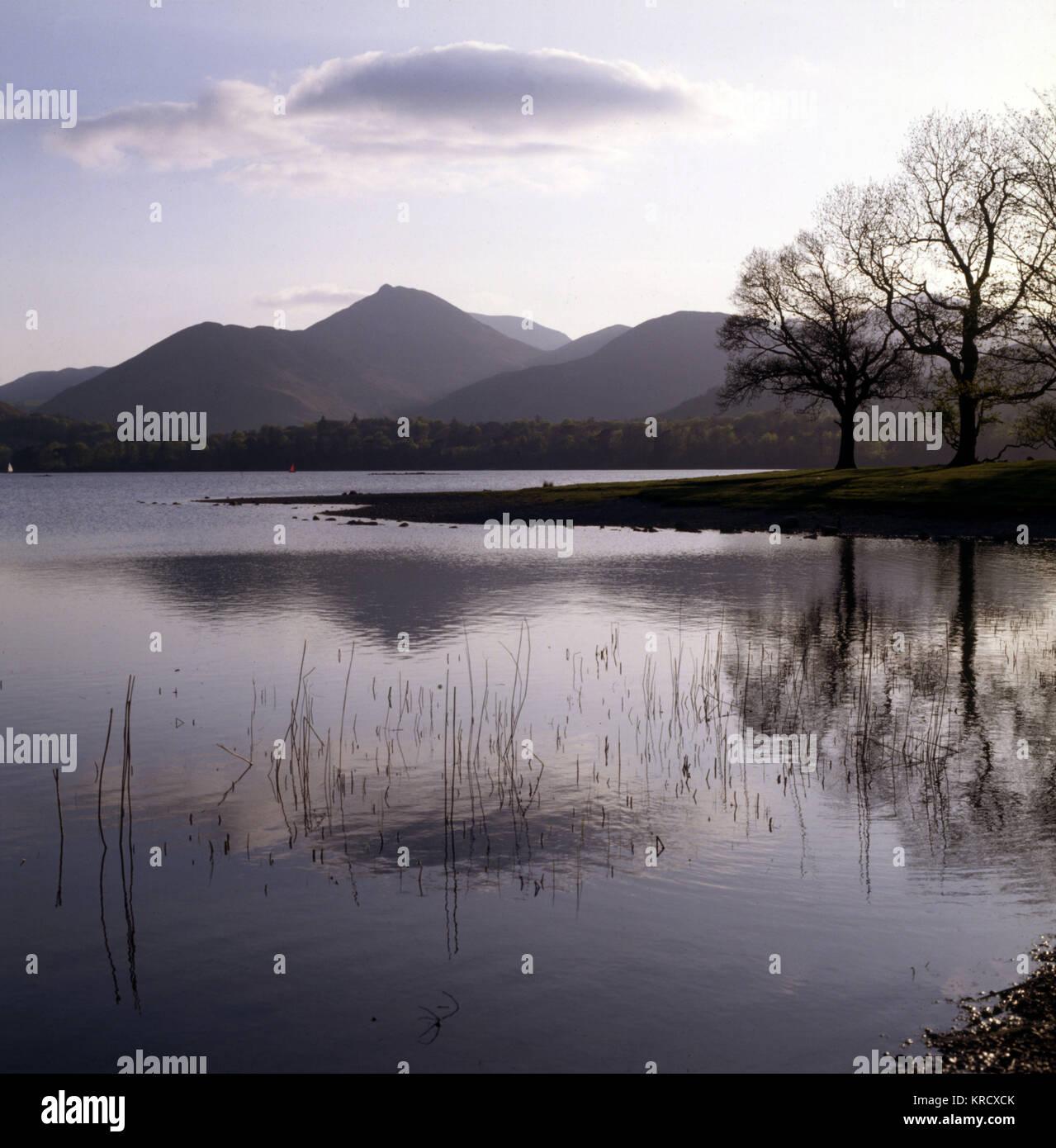 Ein abendlicher Blick von Derwentwater, den Lake District, Cumbria, Causey Pike aus Strandshag Bay. Datum: 1985 Stockbild