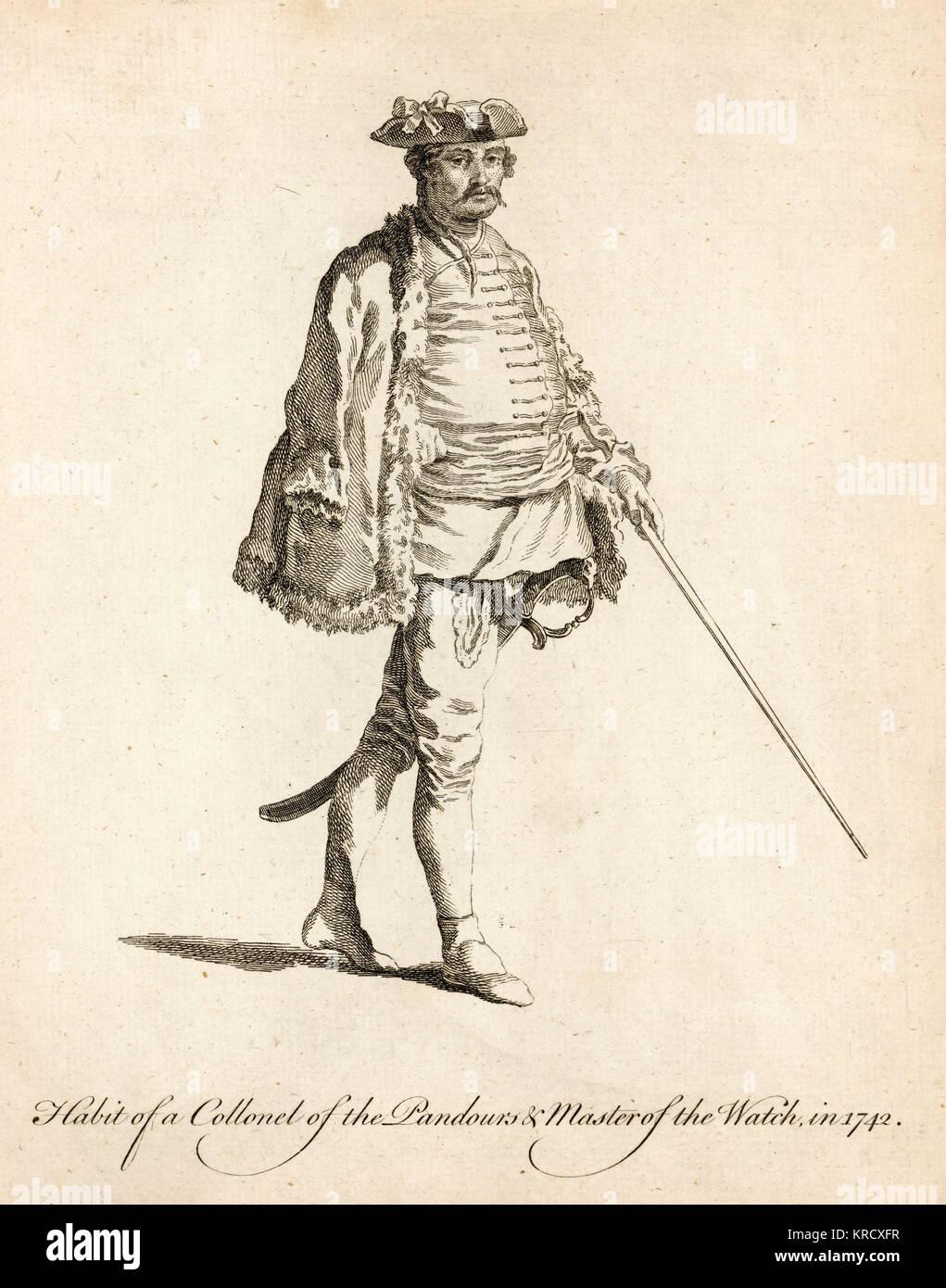 Collonel des Pandours und Meister der Uhr. Ursprünglich ungarische Bergsteiger, in der Österreichischen Stockbild