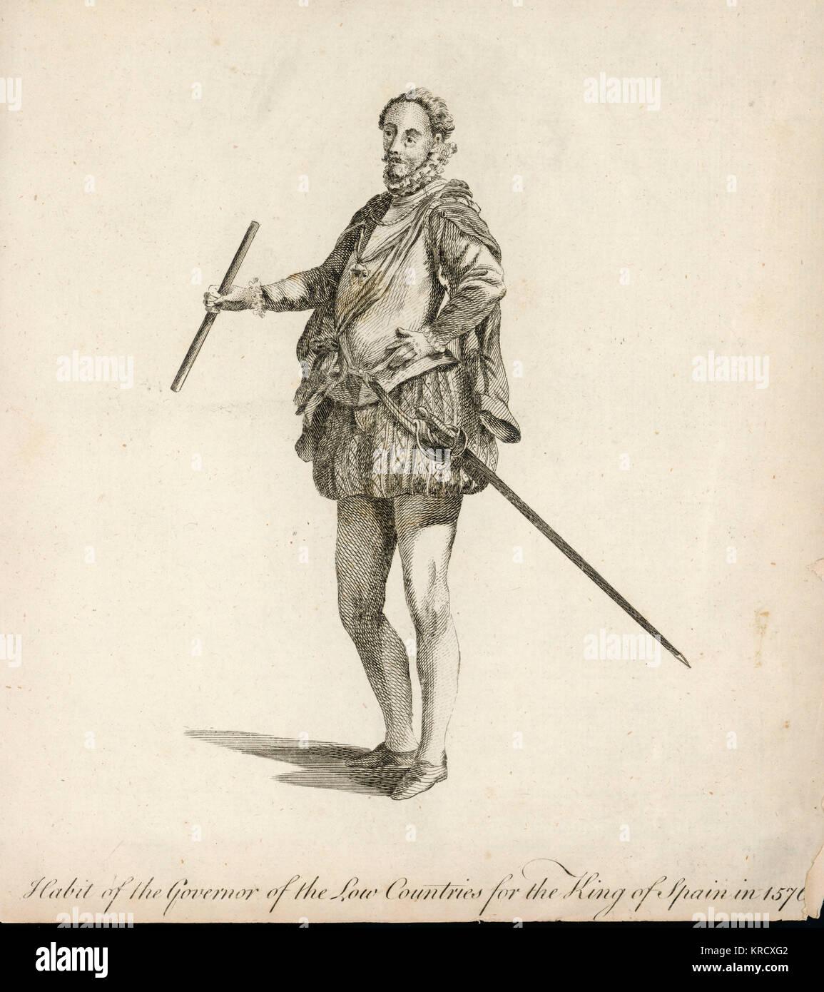 Gewohnheit der Statthalter der Niederlande für den König von Spanien, Philipp II Datum: 1576 Stockfoto