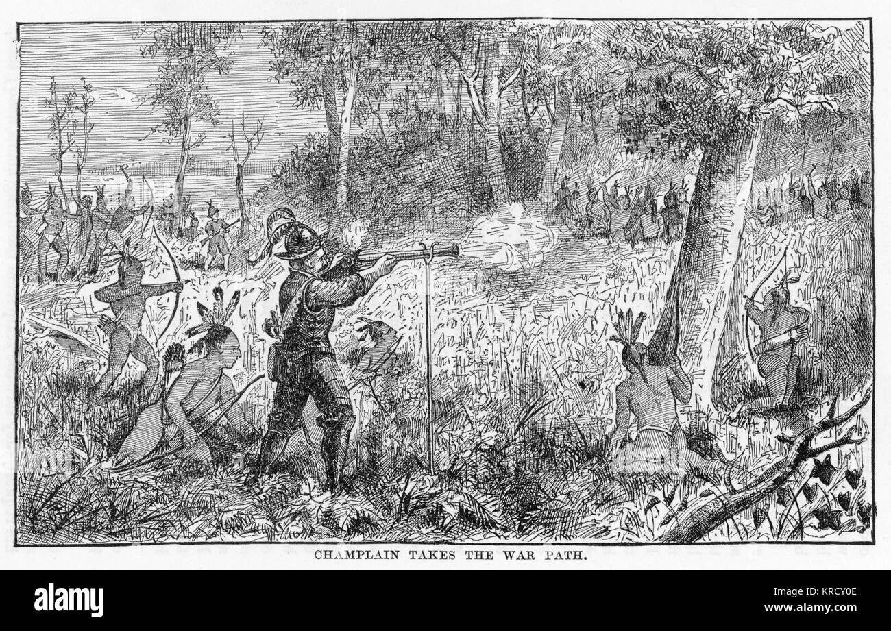 Samuel de Champlain, mit Hilfe von der vor kurzem befreundete Huron Indianer auf dem Kriegspfad mit den Irokesen. Stockbild