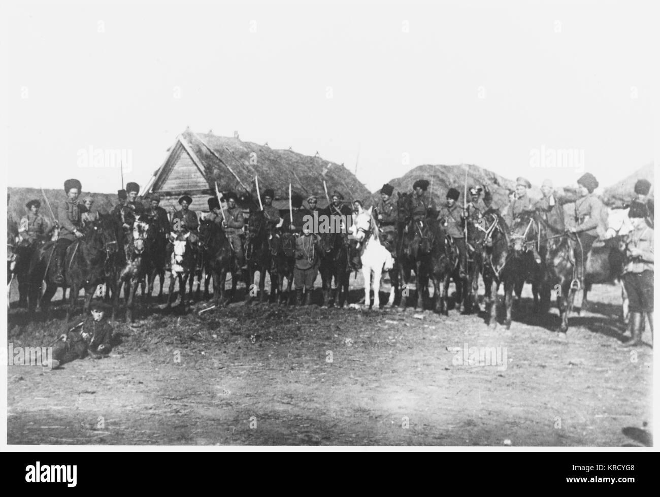 Die legendäre horsemanship der Kosaken stellt sicher, dass die Rote Armee Kavallerie einmalig effektiv ist: Stockbild