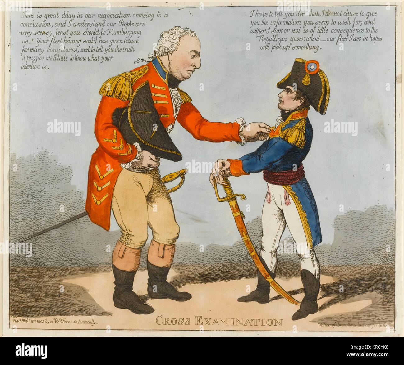 Satirische Karikatur, Kreuzverhör. Eine große Cornwallis und diminutive Napoleon Bonaparte konfrontieren. Stockbild