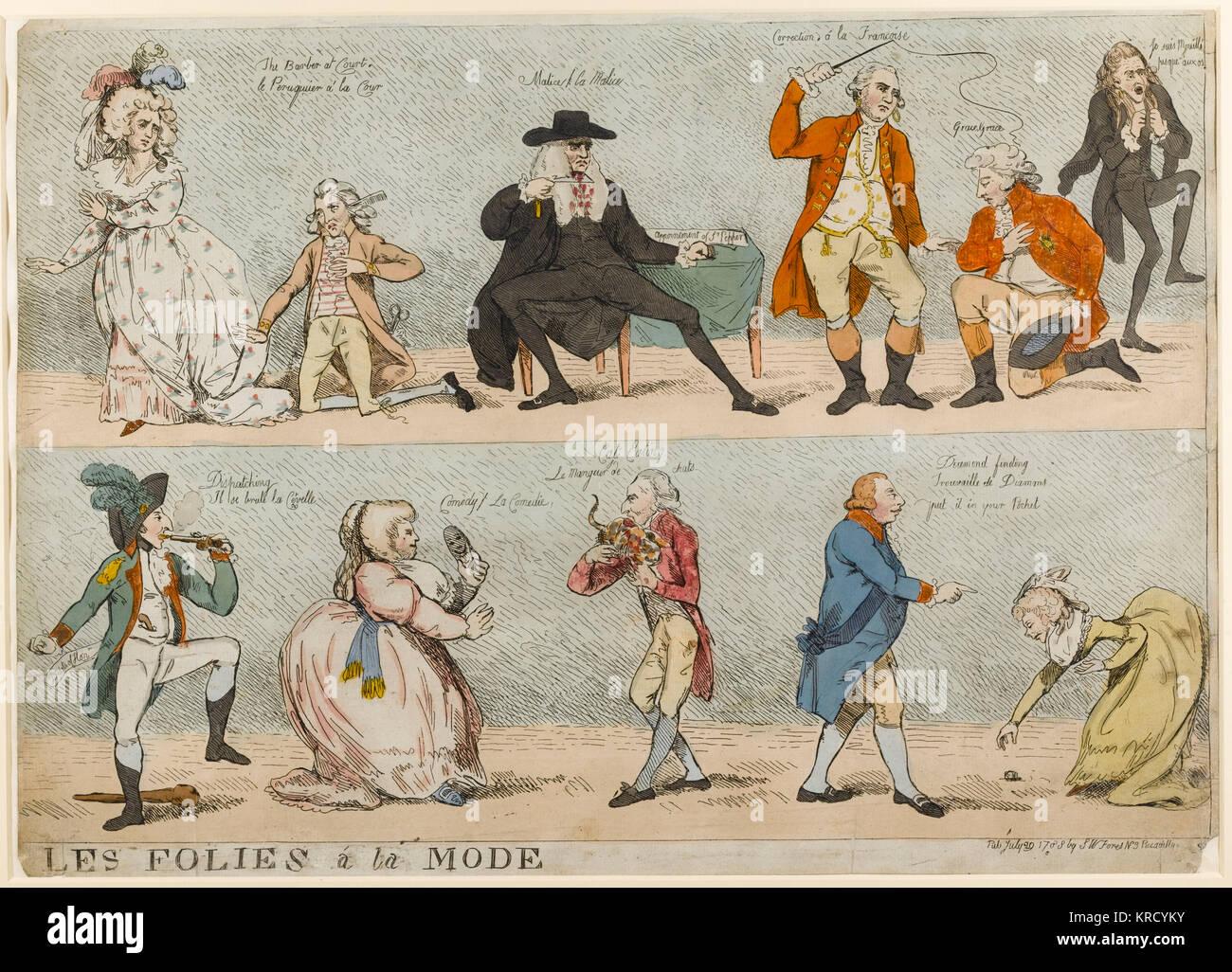 Satirische Karikatur, Les Folies a la Mode, die bekannten Gesellschaft Figuren und ihrer Unsinnigkeiten. Ein großer Stockbild