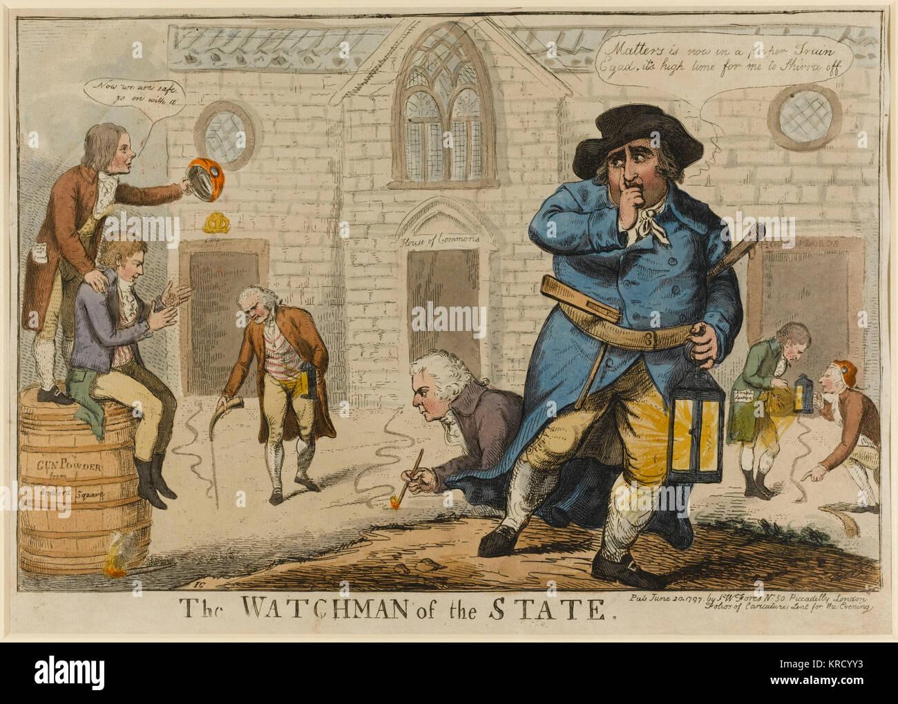 Satirische Karikatur, der Wächter des Staates. Fox gekleidet als Wachmann weg rutscht als weiteres gunpowder Stockbild