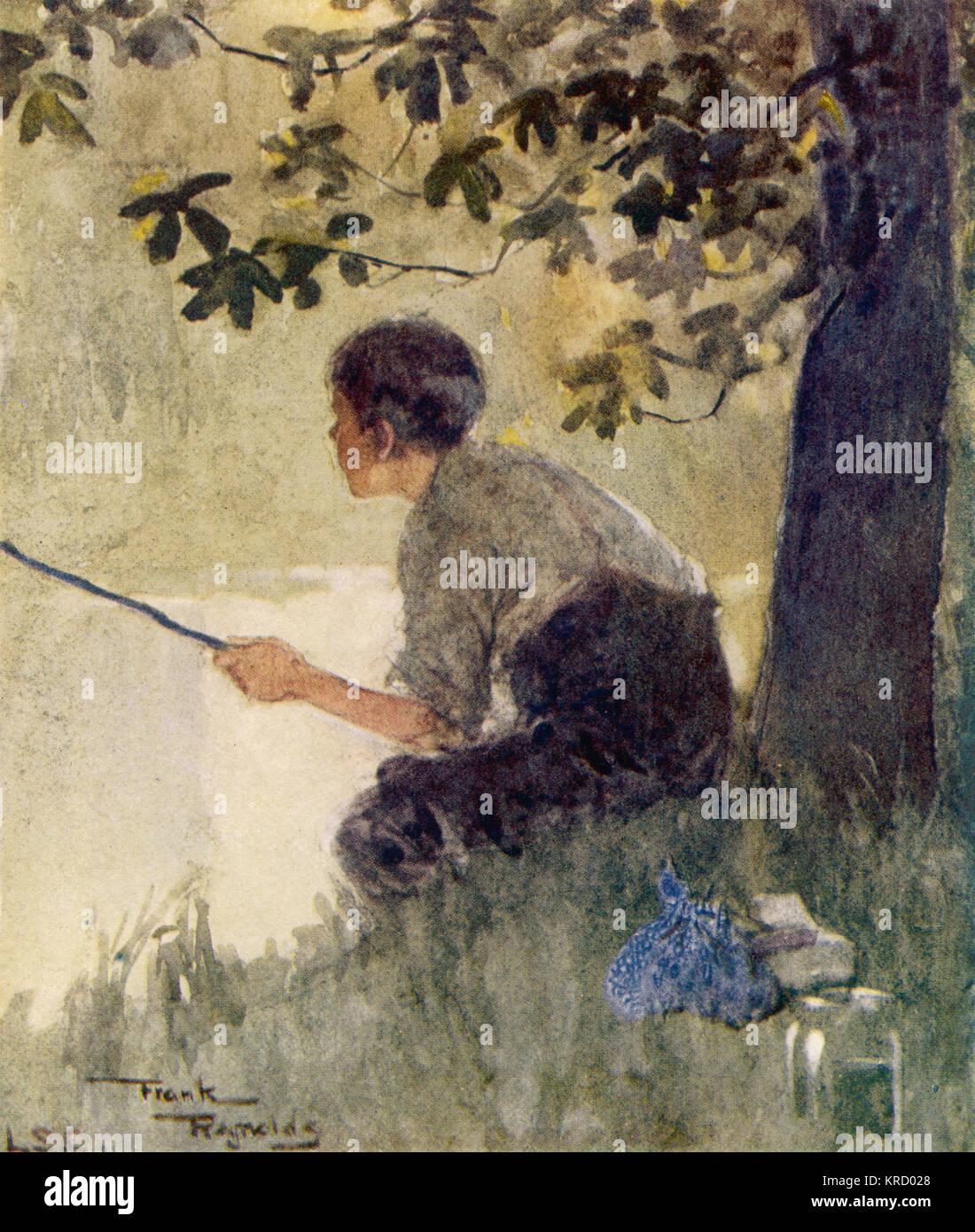 Ein kleiner Junge sitzt friedlich Angeln. Datum: C 1915 Stockbild