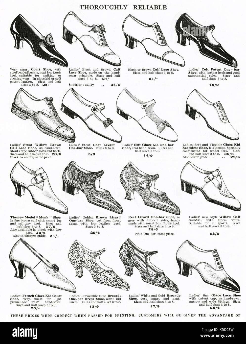 Damen Schuhe aus den 1920er Jahren verfolgte und Wohnungen