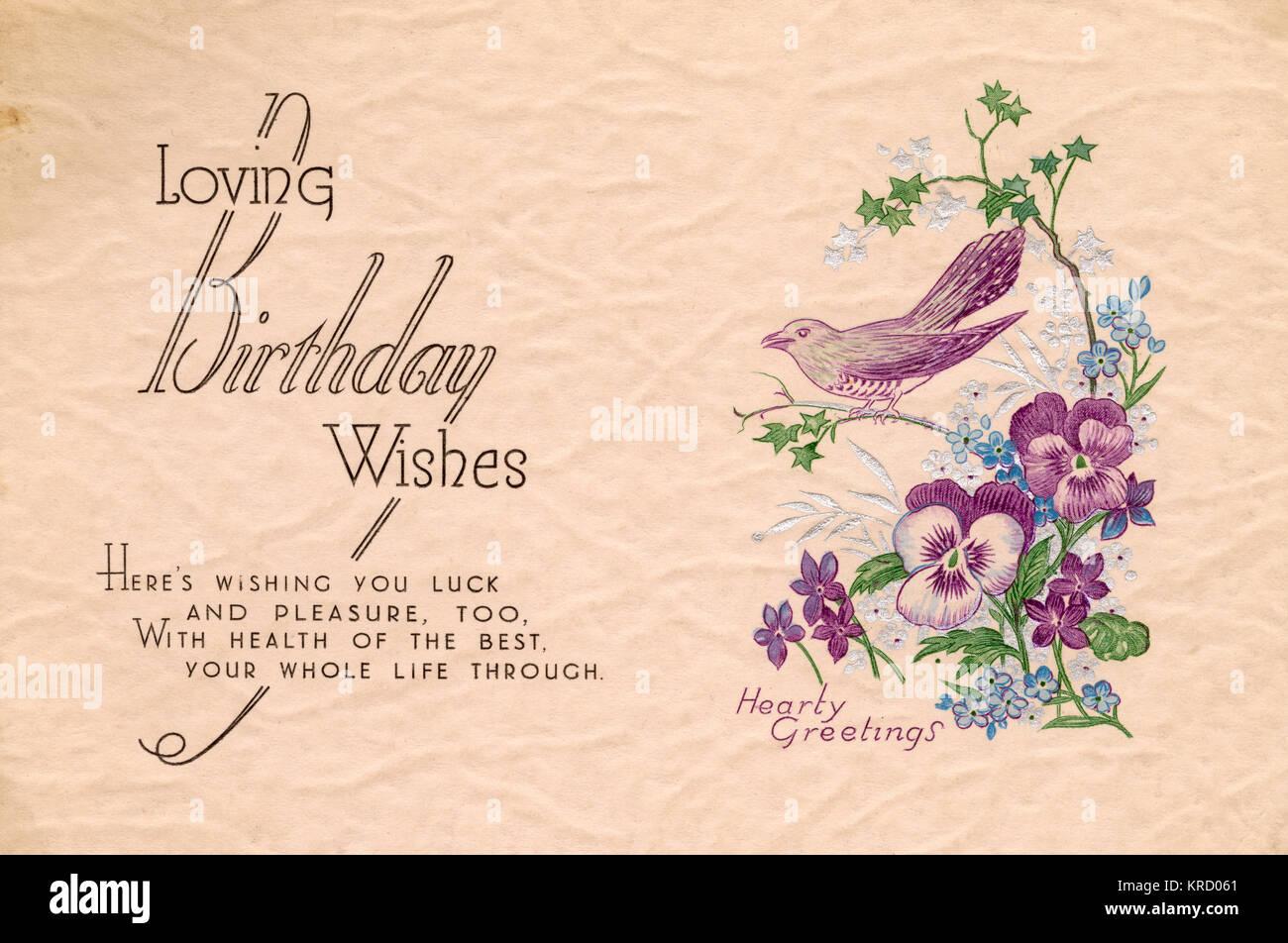 Lieben Geburtstagswünsche: Geburtstagskarte mit einem Vogel auf
