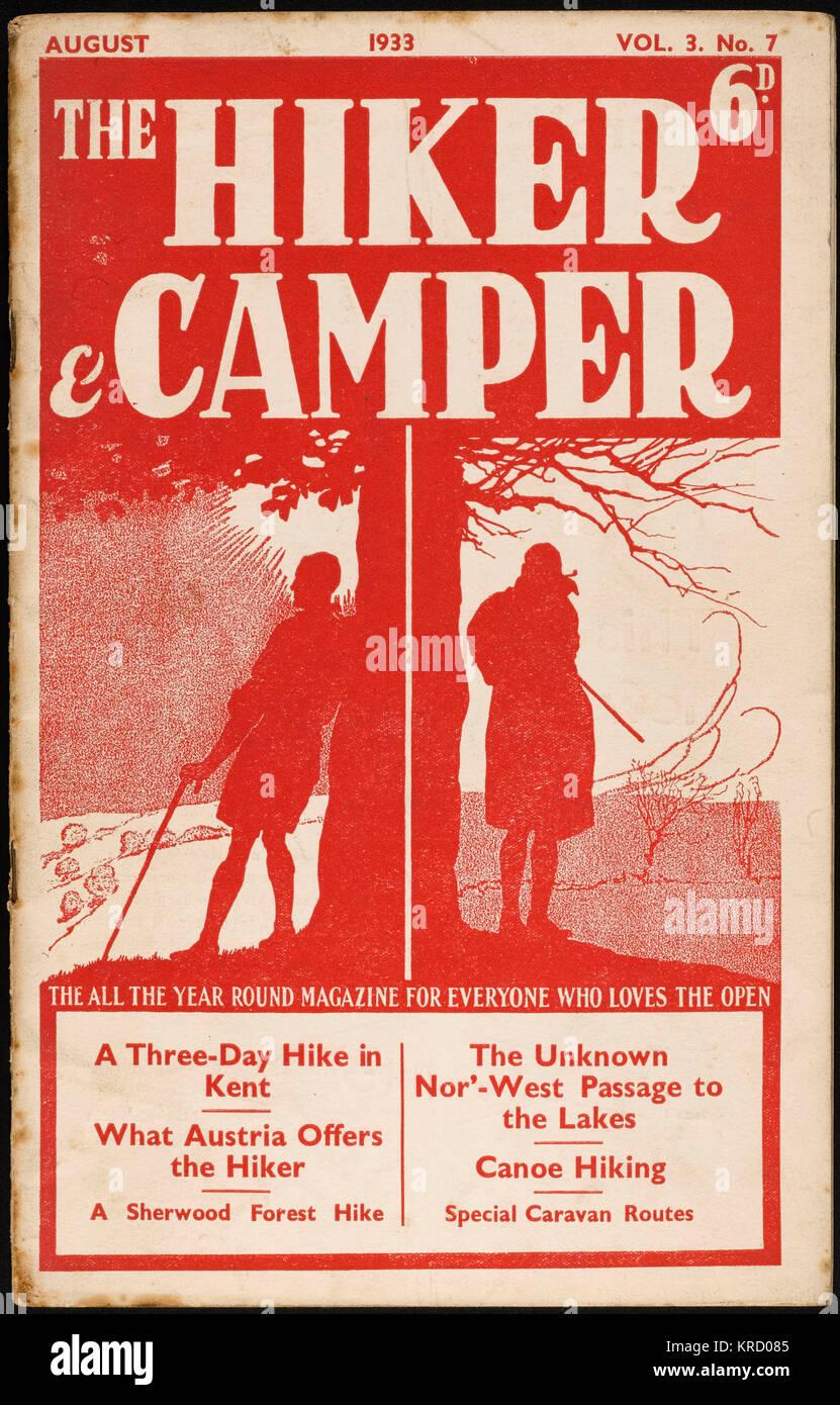 Vordere Abdeckung der Wanderer und Camper, den 30er Magazin zu Outdoor-aktivitäten gewidmet. Rote Version. Stockbild