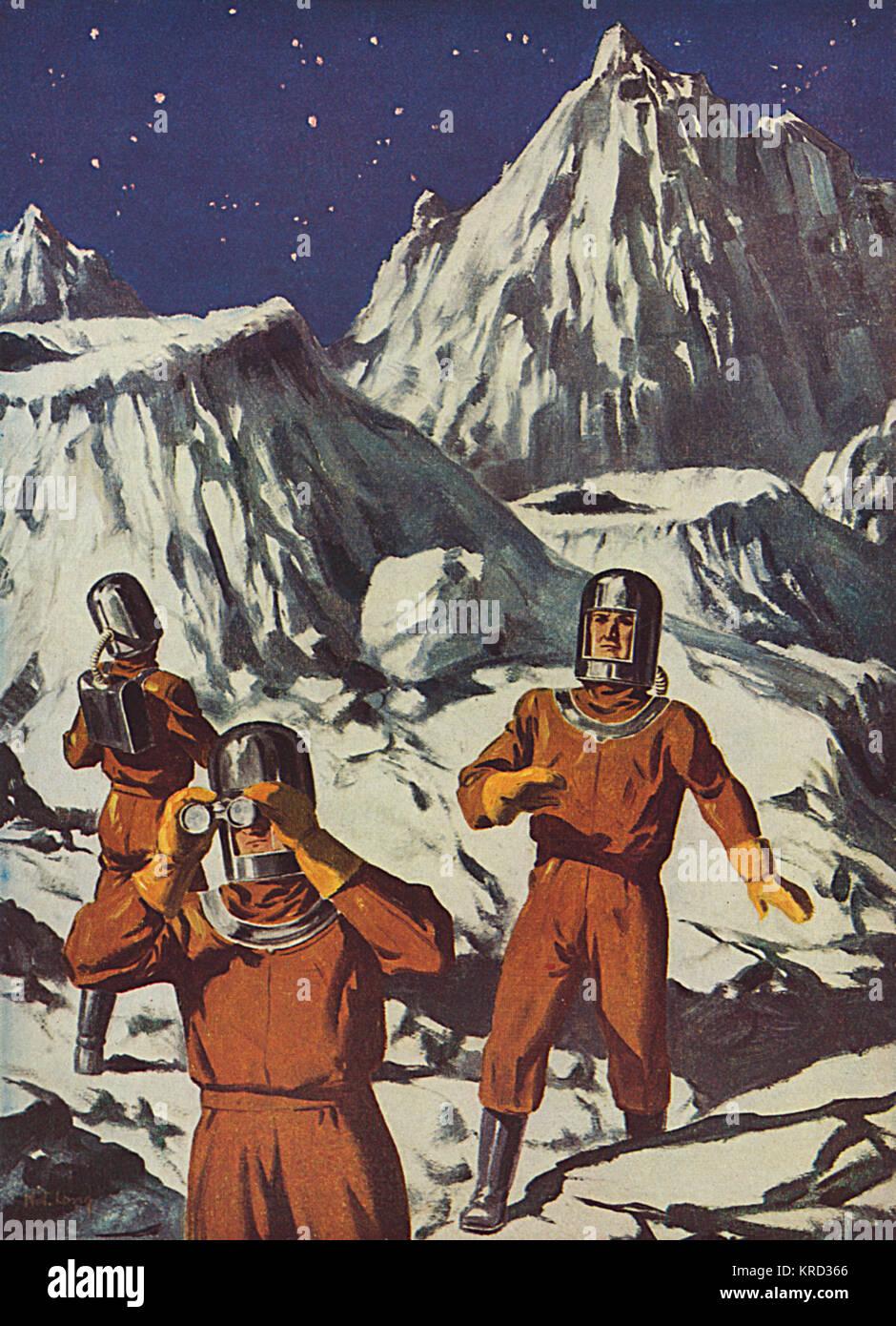 Eine futuristische Vorhersage von, was es wie wenn Mann schließlich landet auf dem Mond - Astronauten, die Stockbild