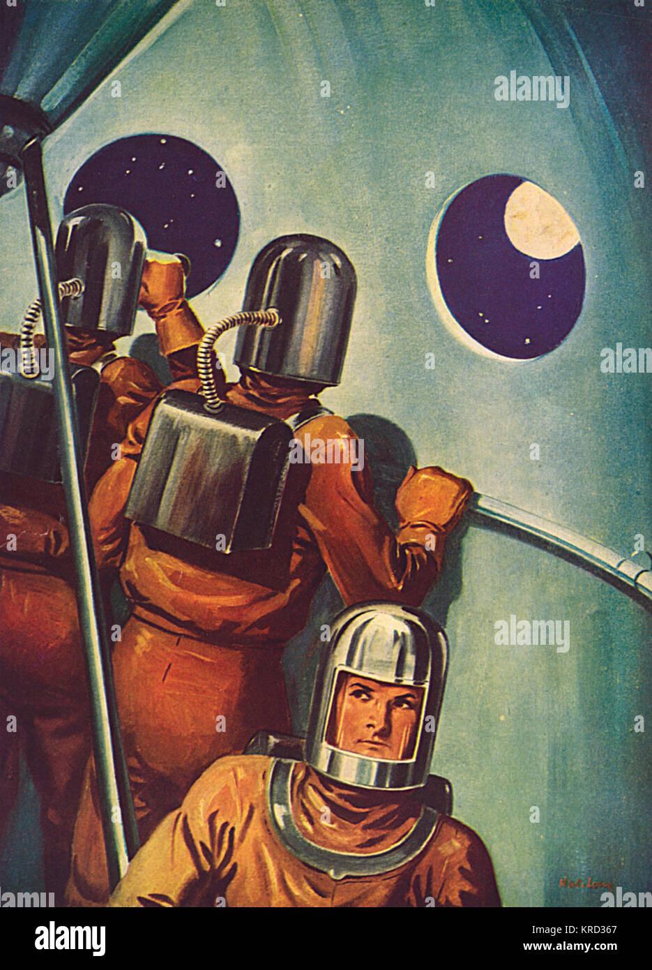 Astronauten an Bord eines Raumschiffes für den Mond gebunden, haben den Vorteil, dass eine neuartige Sicht Stockbild