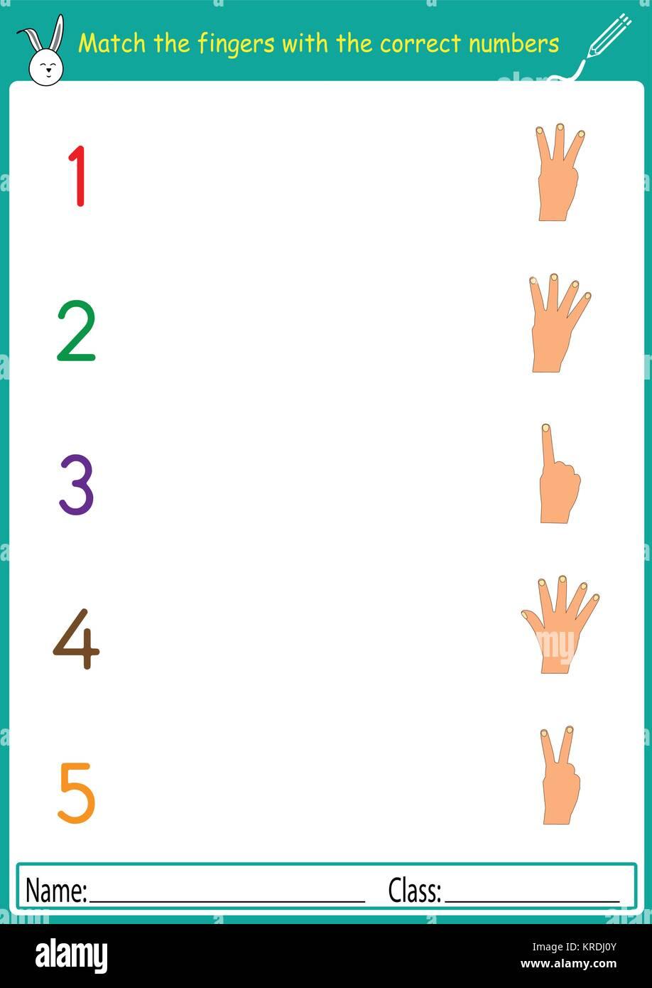 Die Finger mit den richtigen Zahlen übereinstimmen, Mathe ...