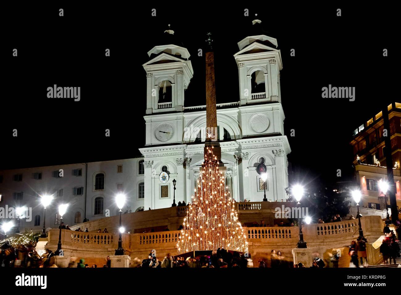 Rom Weihnachten led Baum, an der Spanischen Treppe, Trinità dei ...
