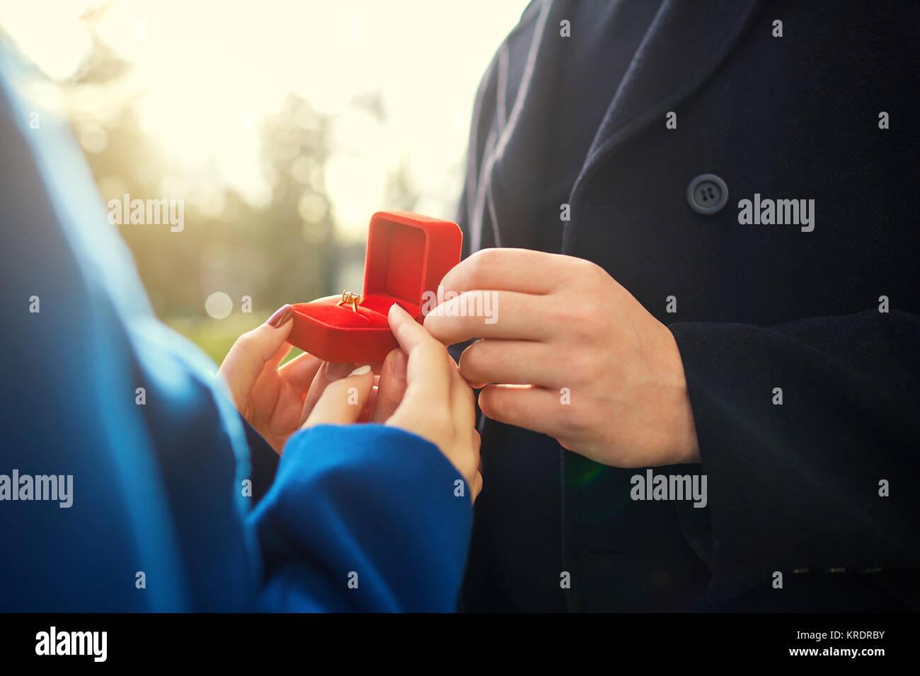 Heiratsantrag. Stockbild