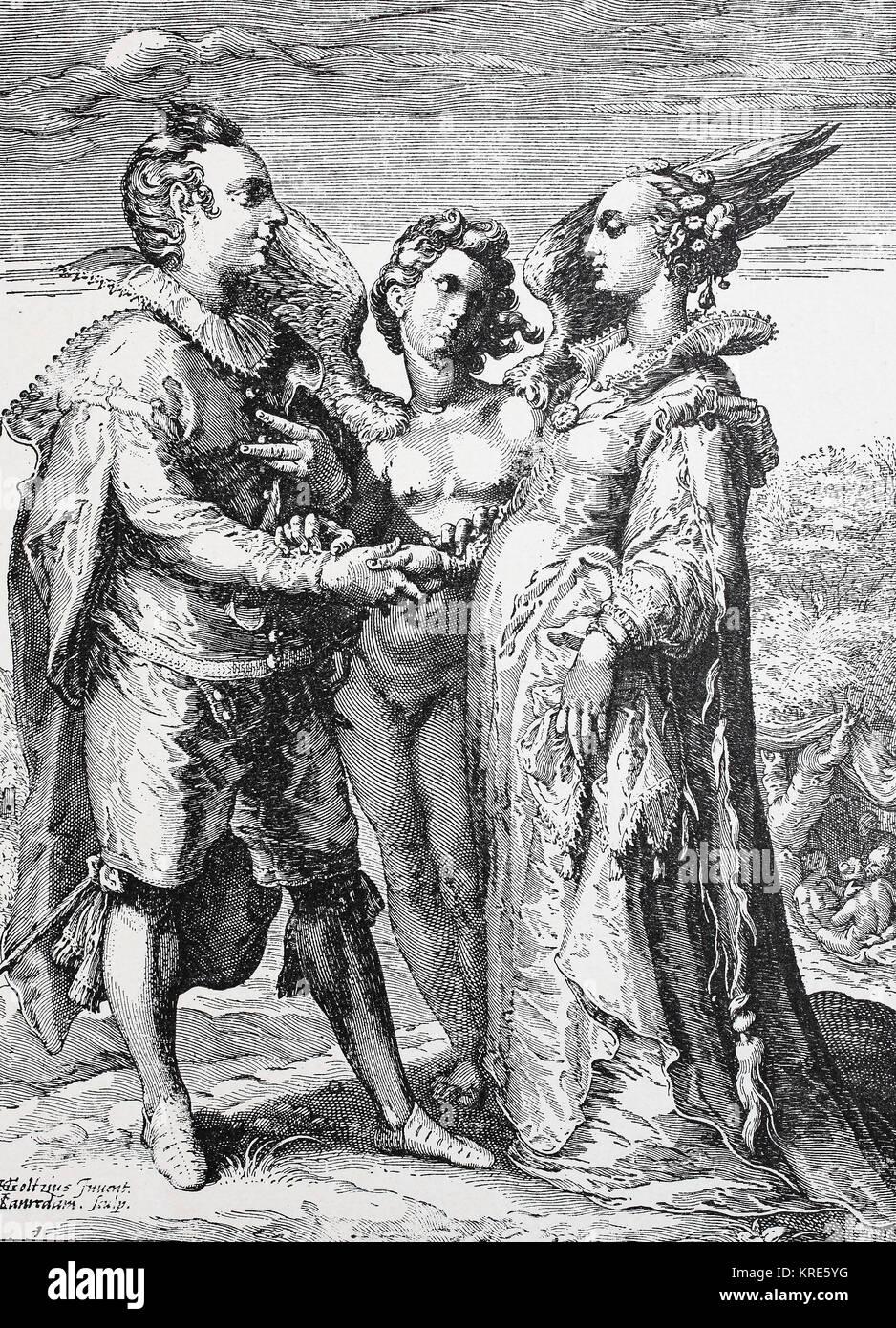 Mann, Frau und Engel der Liebe, symbolische Darstellung der Ehe für die Liebe, digital verbesserte Reproduktion Stockbild