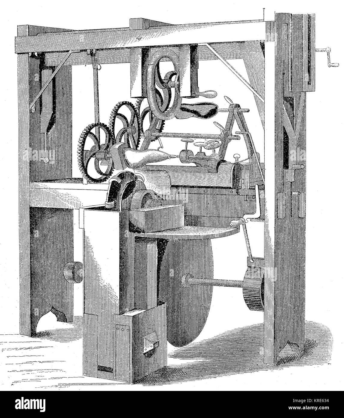 Maschine für die automatische Produktion von schuhleisten aus J.W.Stadt, digital verbesserte Reproduktion eines Stockbild