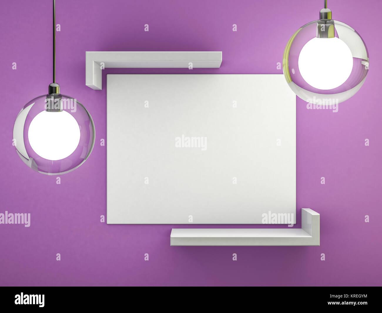 Weiße leere Poster mit Rahmen Mock-up an der Wand. 3D-Rendering ...