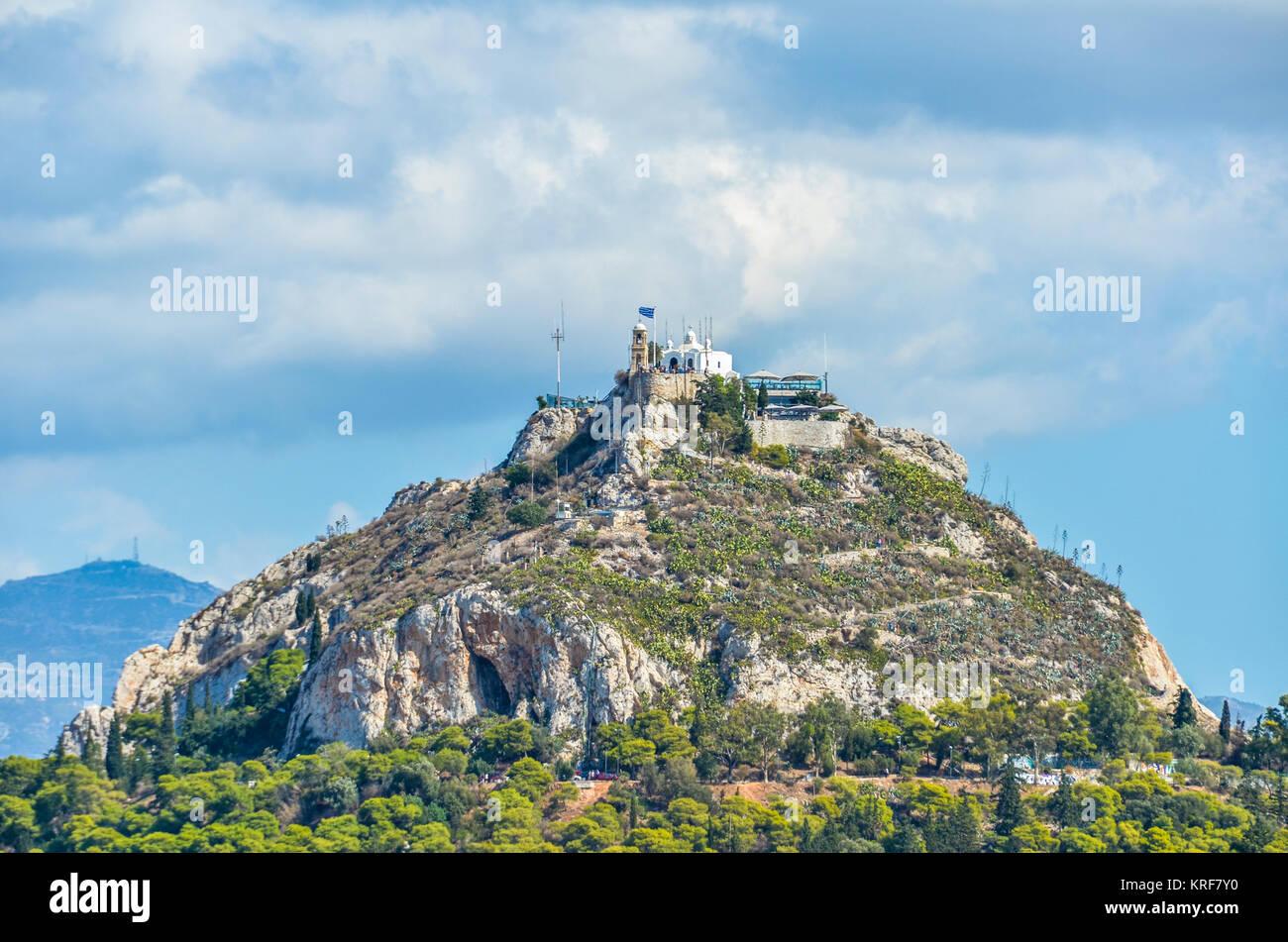 Detailansicht der Lycabettus Hügel, von wo aus Sie die Stadt Athen zu schätzen wissen Stockbild
