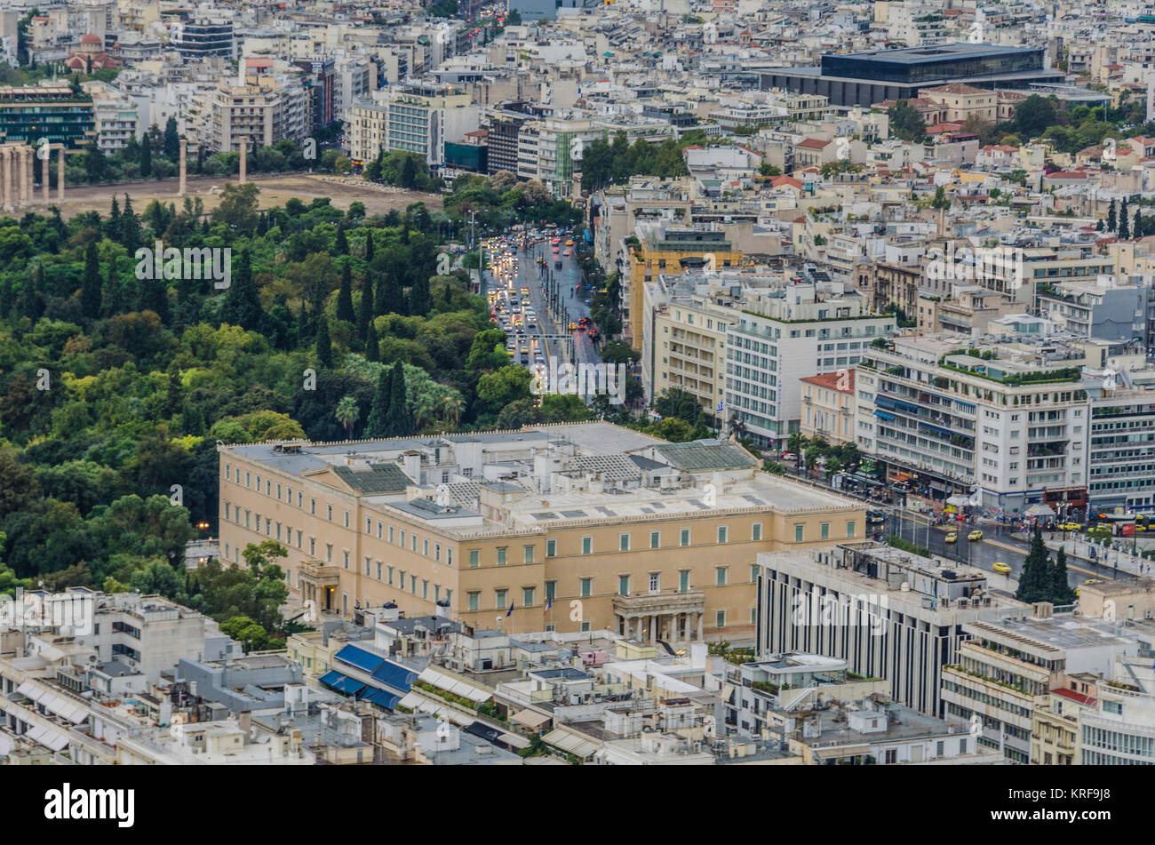 Die Innenstadt von Athen Griechische Parlament und auf der linken Seite die nationalen Garten von Athen und dann Stockbild