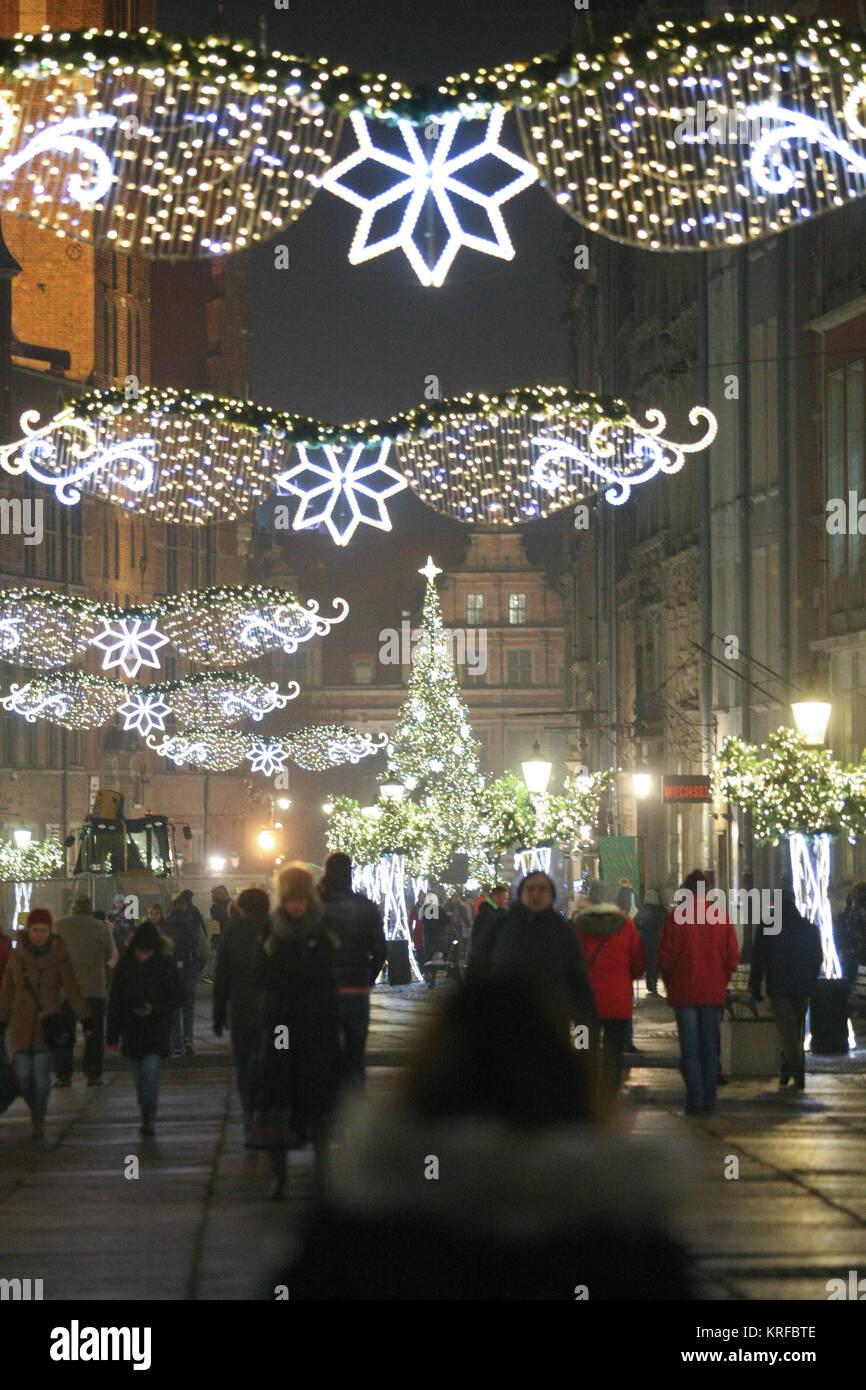 Weihnachtsgeschenke Lebensmittel.Danzig Polen 19 Dezember 2017 Weihnachtsbeleuchtung Und