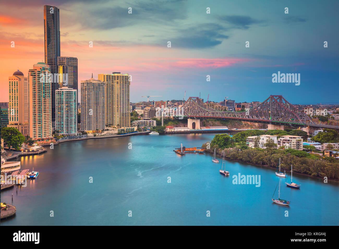 Brisbane. Stadtbild bild Skyline von Brisbane, Australien während der dramatischen Sonnenuntergang. Stockbild