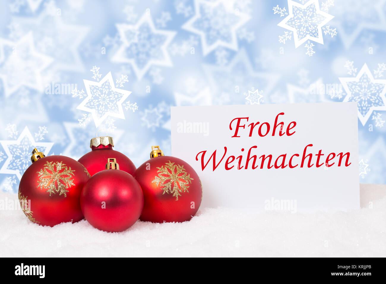 Rote Weihnachtskugeln Frohe Weihnachten Weihnachtskarte Schnee ...
