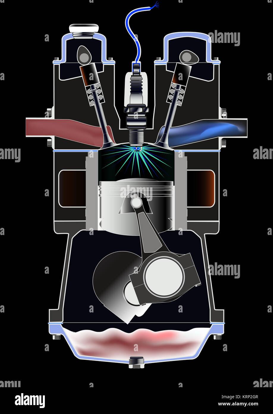 Engine Cutaway Stockfotos Bilder Seite 2 Alamy Diagram Viertakt Benzinmotor Stockbild