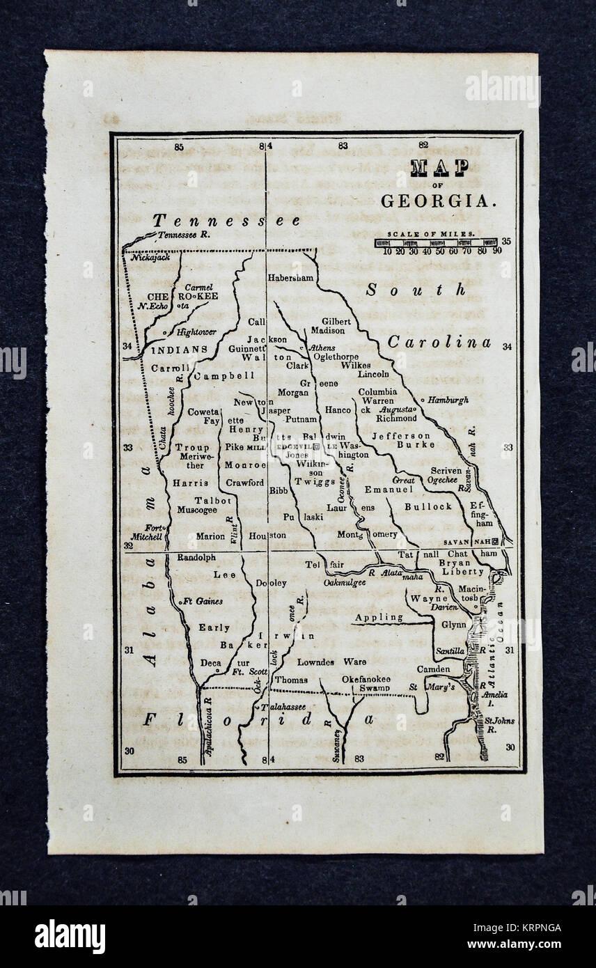 1830 Nathan Hale Karte Georgia Atlanta Athen Columbus Macon