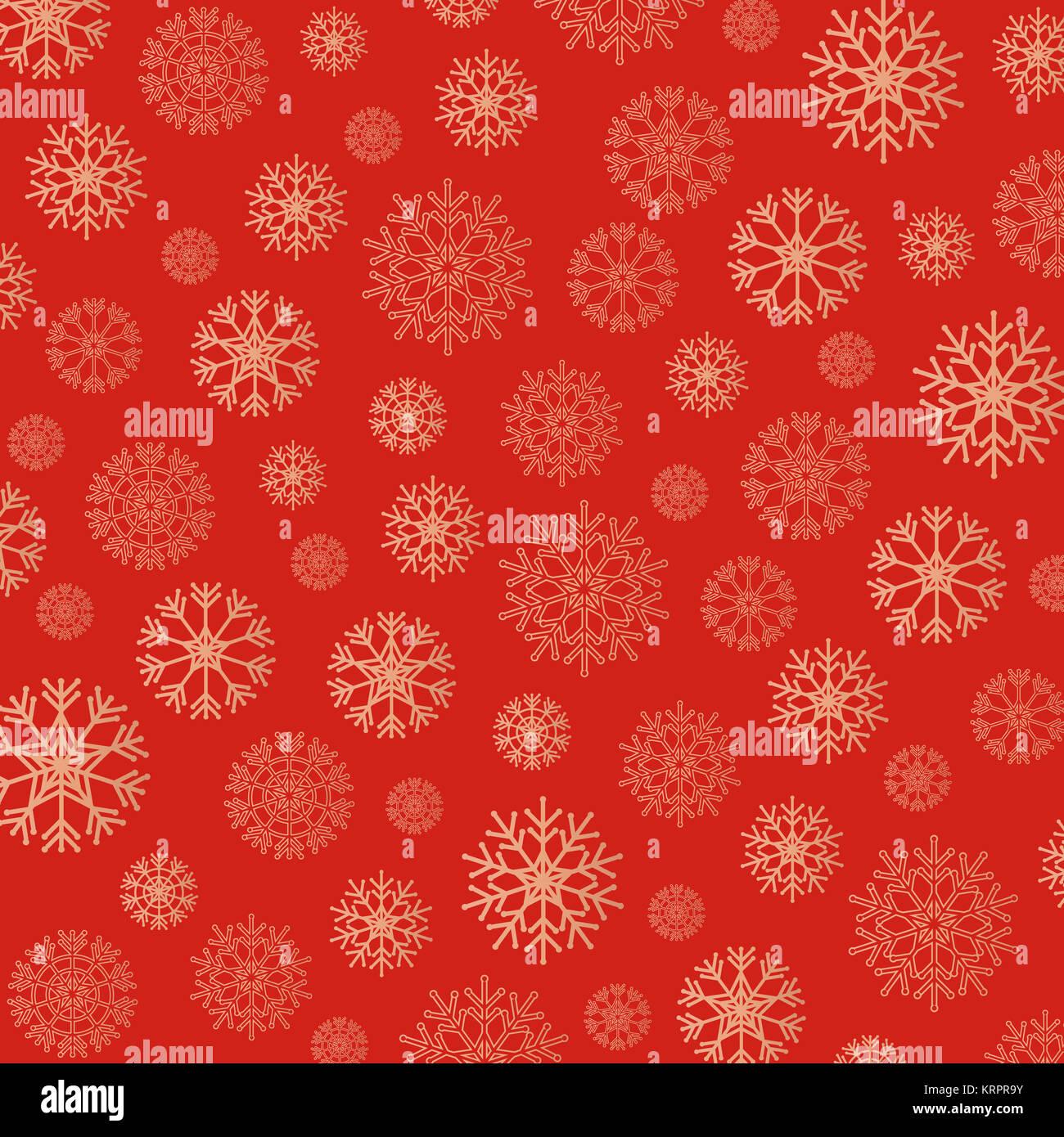 Wunderschöne Schneeflocken Hintergrund in goldenen und roten Stockfoto