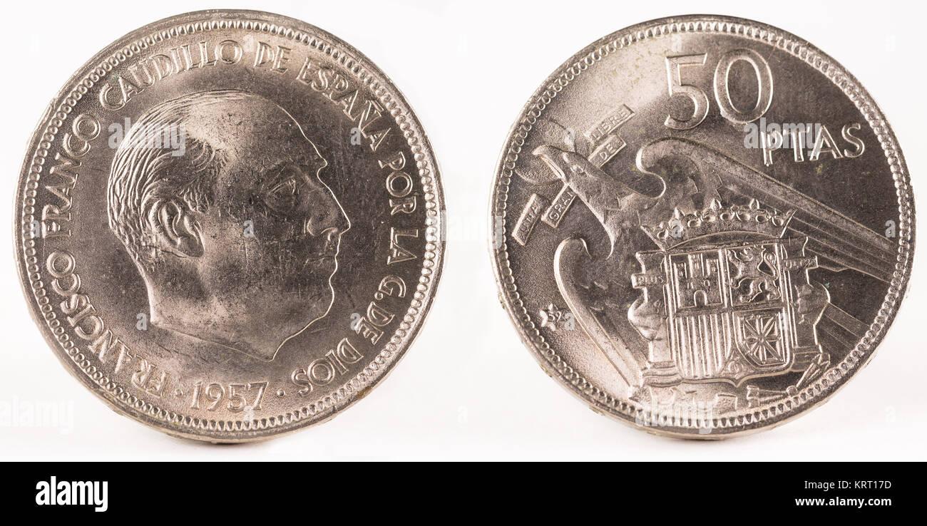 Alte Spanische Münze Von 50 Peseten Francisco Franco In Nickel