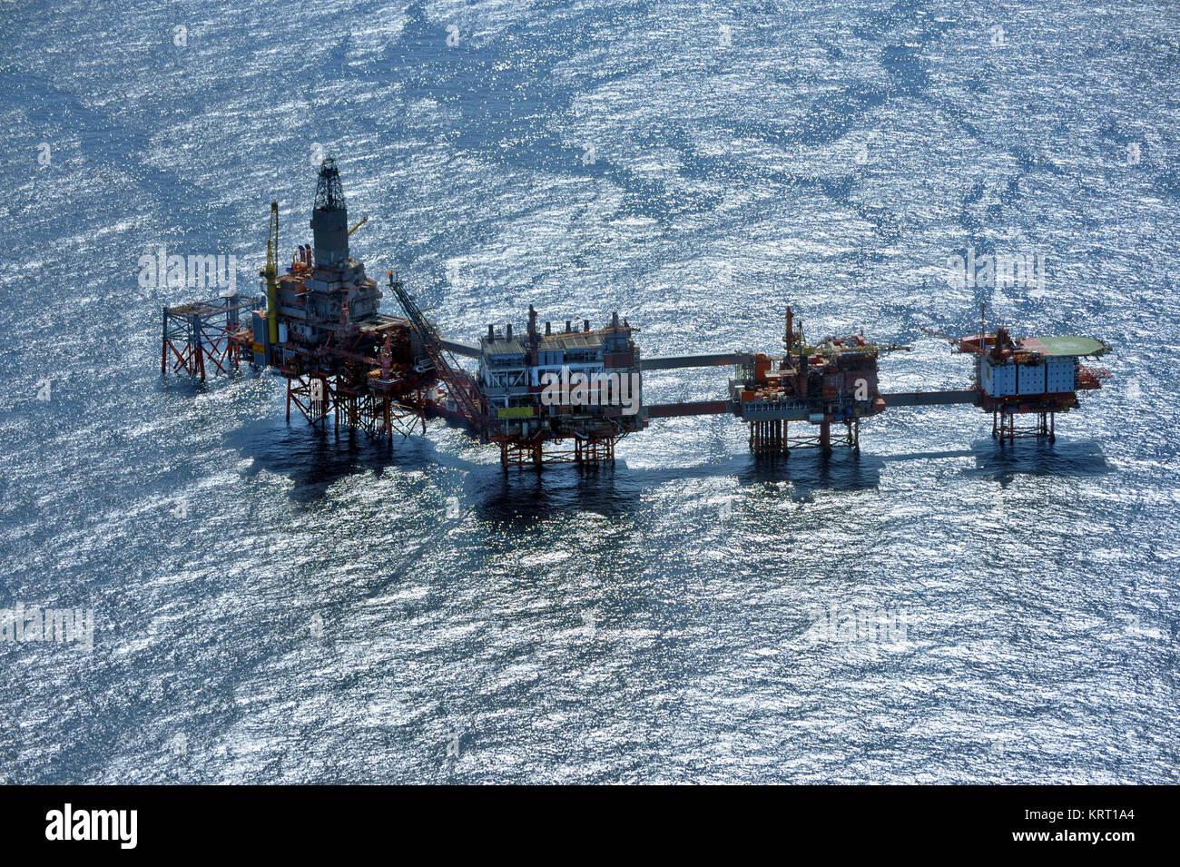 Nordsee, Öl Produktion mit Plattformen. Luftaufnahme. Ekofisk Station. Stockbild