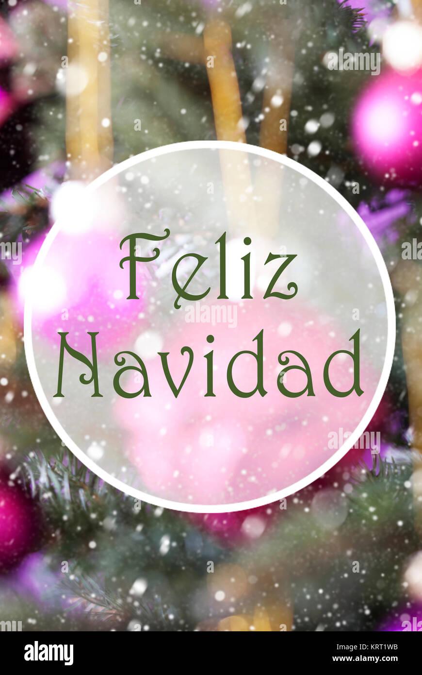 Winterliche Weihnachtsgrüße.Spanische Text Feliz Navidad Frohe Weihnachten Vertikale