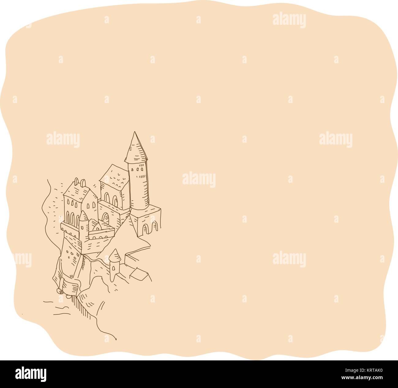 Fantasy Karte.Zeichnung Skizze Stil Abbildung Eines Mittelalterlichen Fantasy