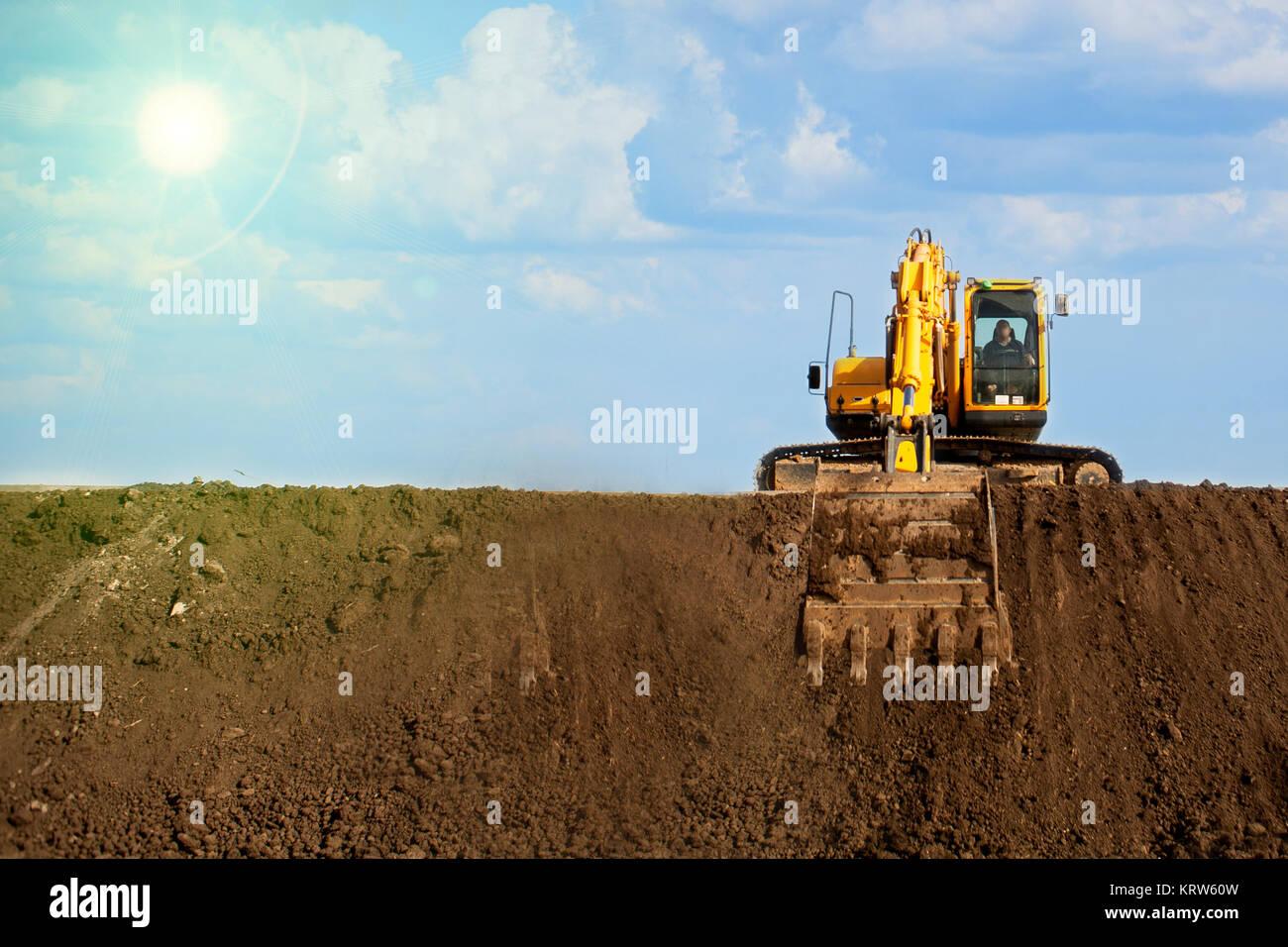 Nahaufnahme eines Bau-Website-Baggers Stockbild