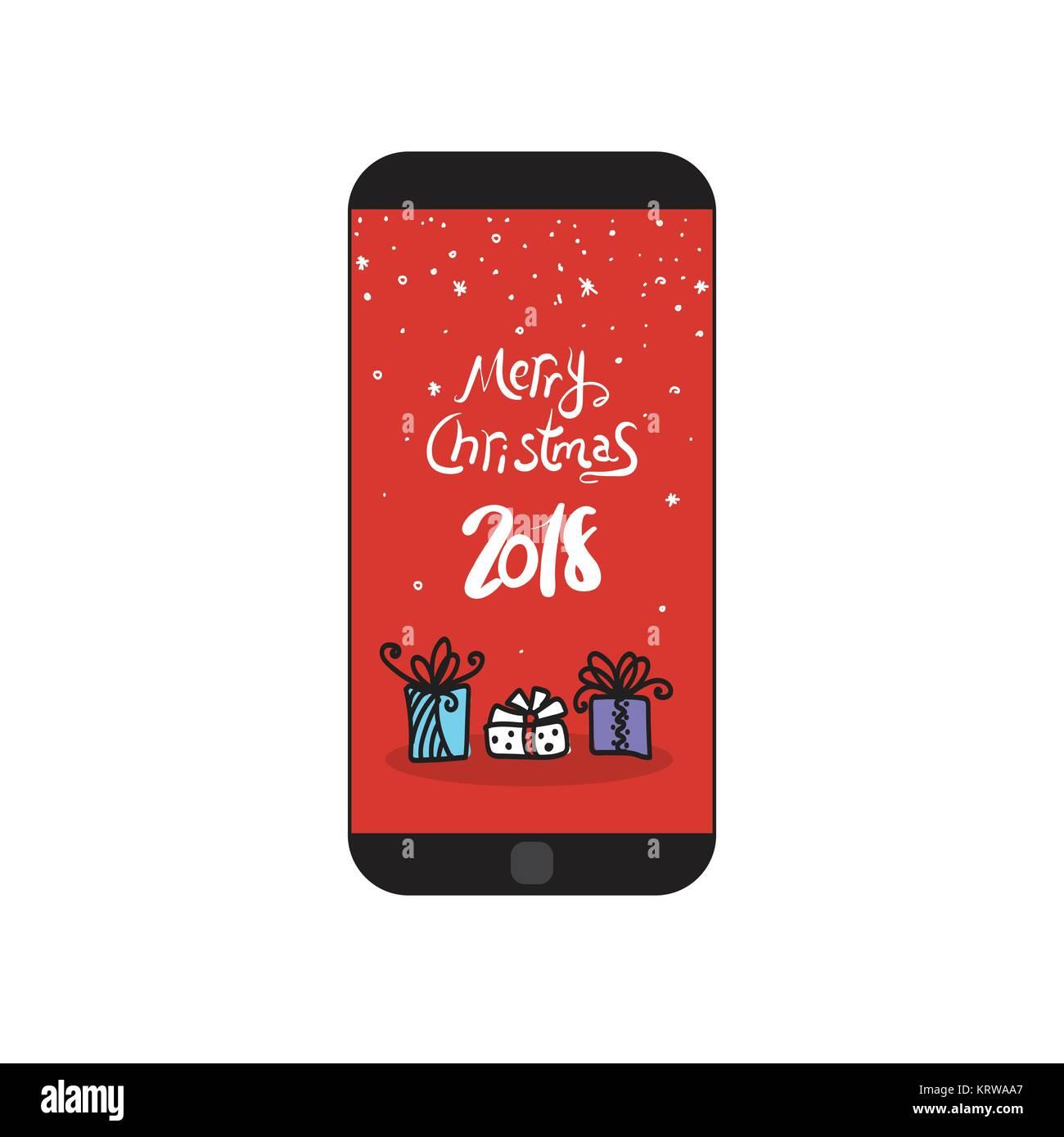 Frohe Weihnachten 2018 Nachricht an Moderne Zelle Smart Phone ...