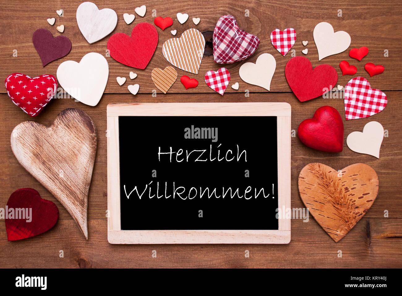 Schiefertafel Mit Deutschen Text Herzlich Willkommen Bedeutet