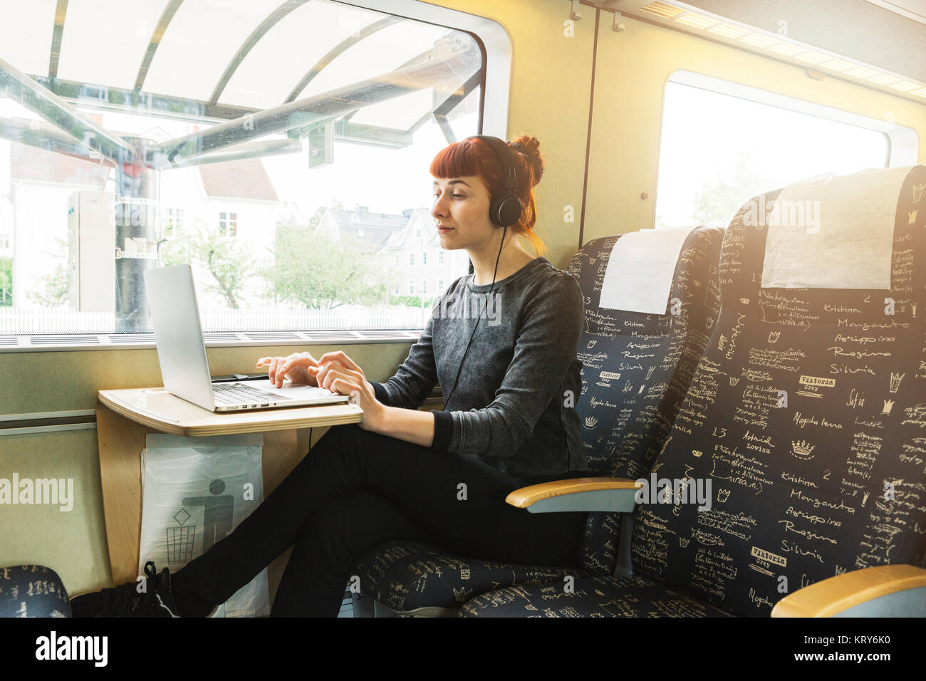 Frau mit Laptop im Zug Stockbild