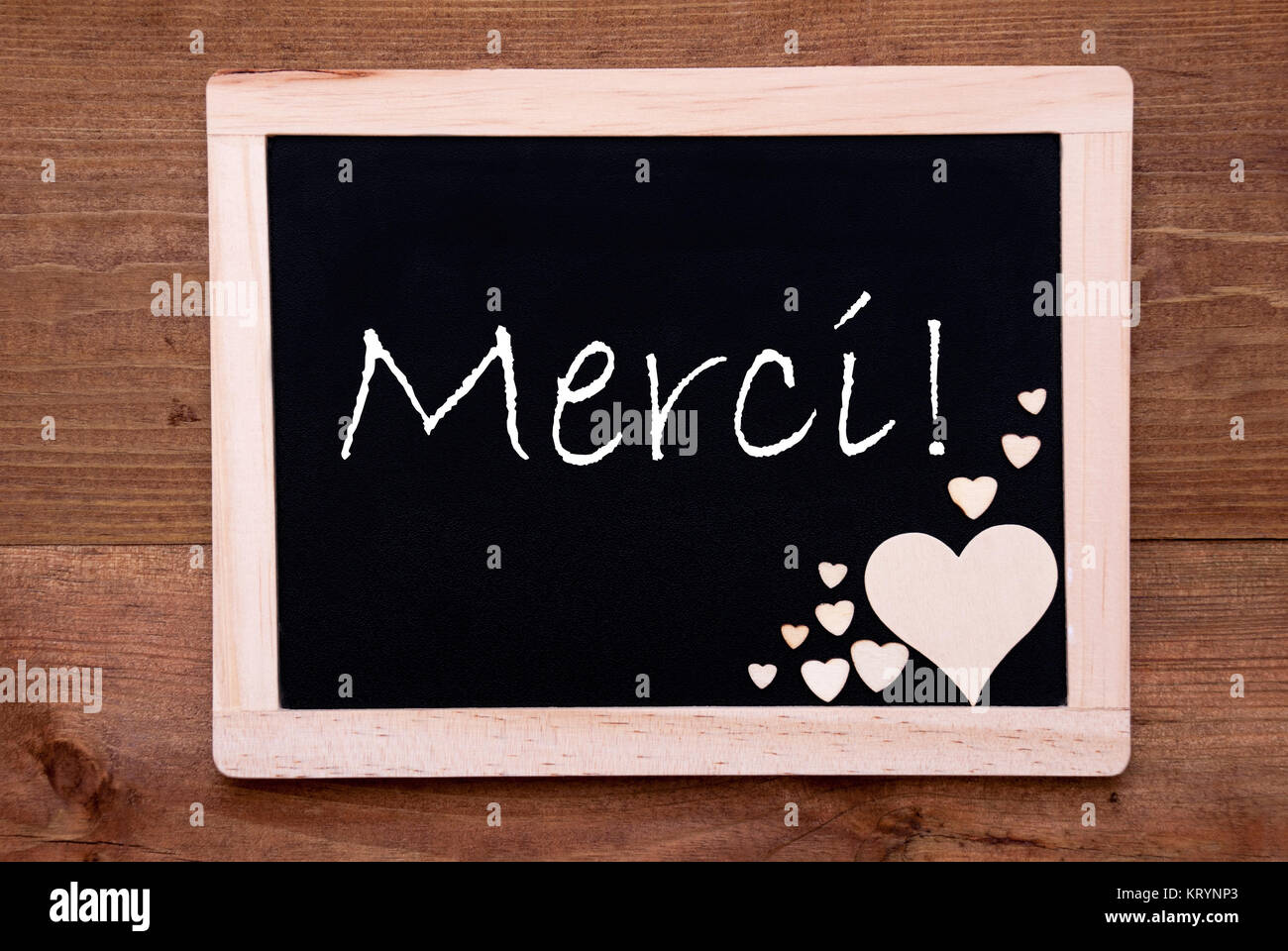 Sign French Text Merci Means Stockfotos & Sign French Text