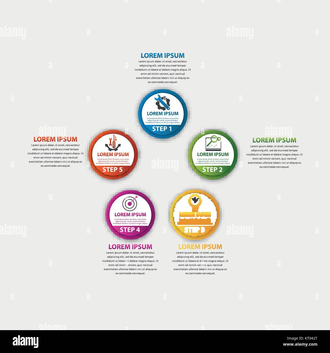Moderne Vector Illustration 3d. Vorlage Kreis Infografiken mit fünf ...
