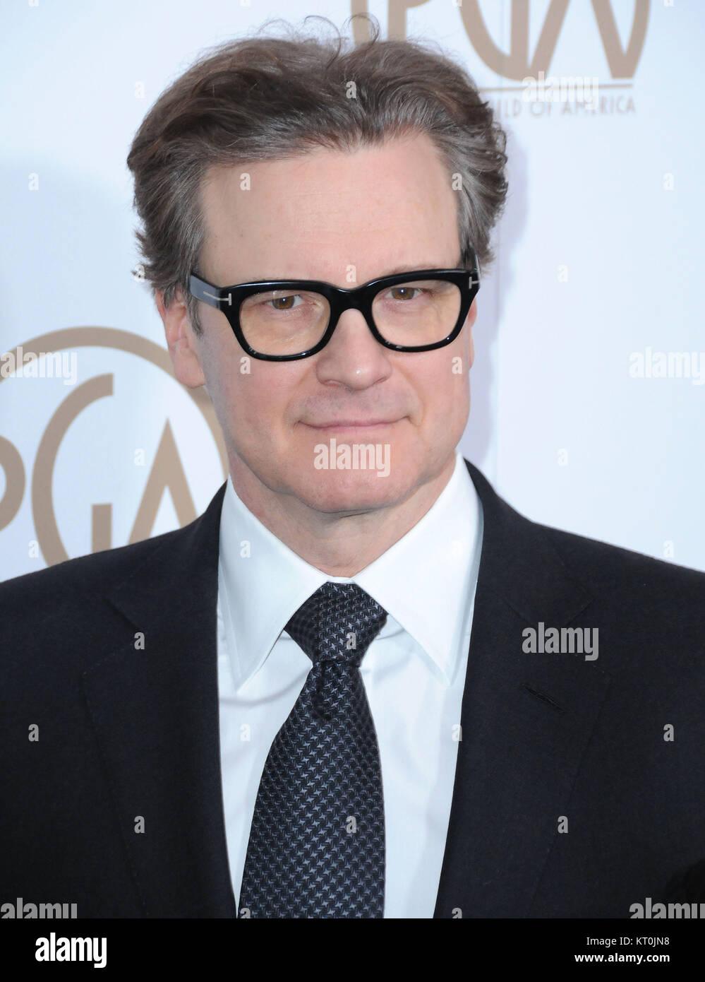 BEVERLY HILLS, Ca - 28. Januar: Schauspieler Colin Firth besucht die 28. jährliche Producers Guild Awards im Stockbild