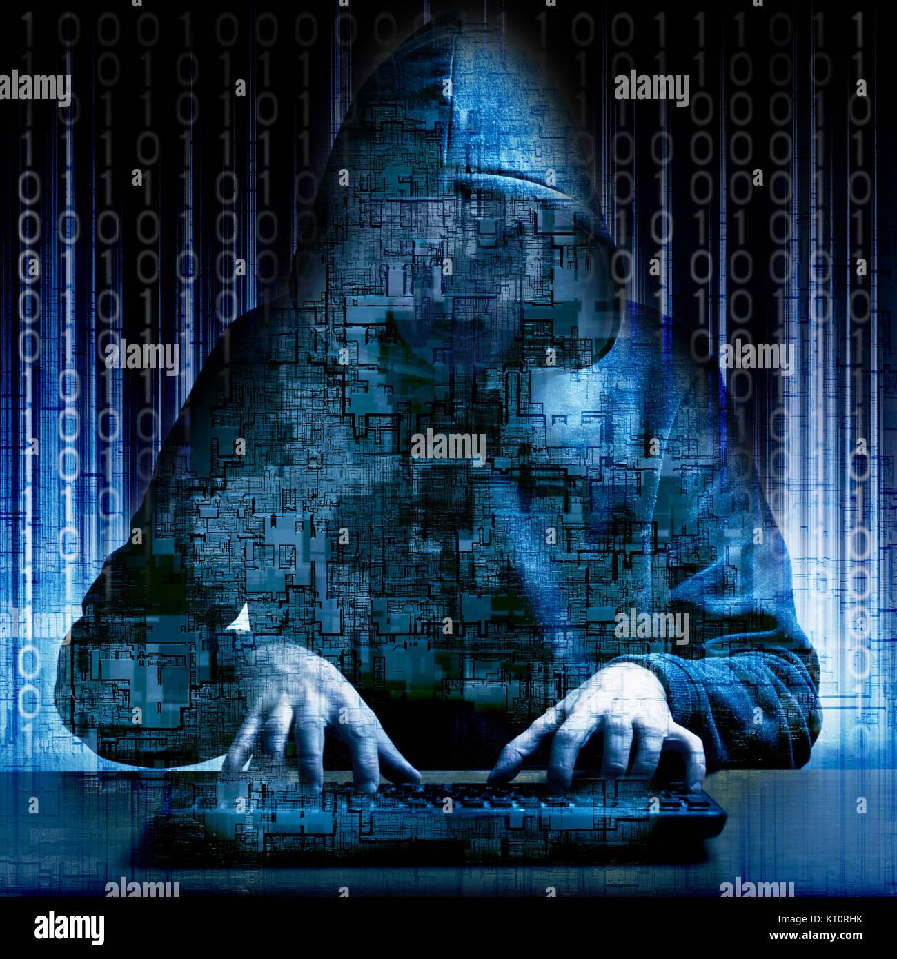 Hacker Eingeben von Code auf einer Tastatur, Cyberkriminalität und dunklen web Konzept Stockbild
