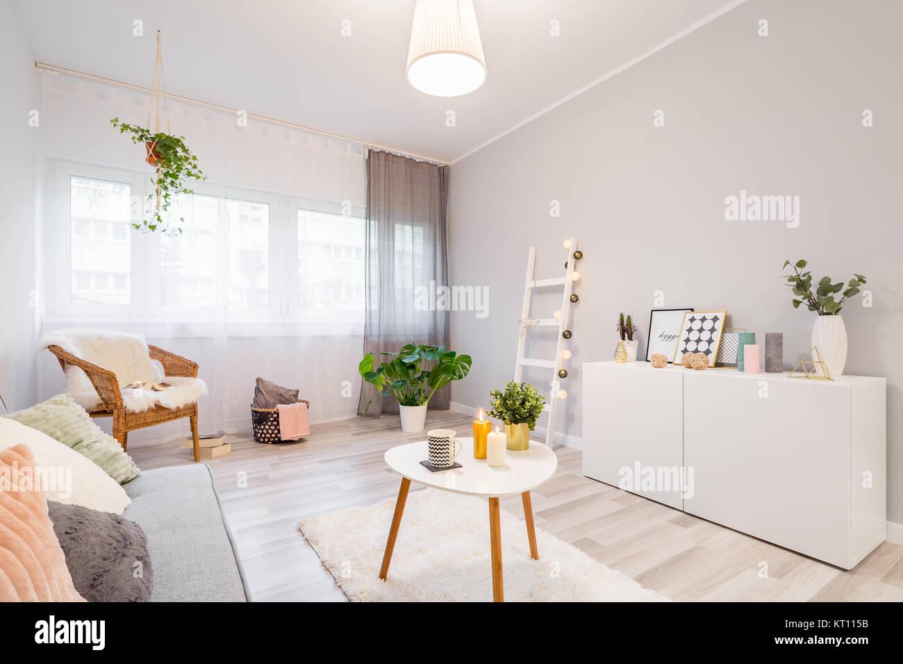 Kissen, Rahmen, Kerzen Und Pflanzen Verzieren Moderne Skandinavische  Wohnzimmer