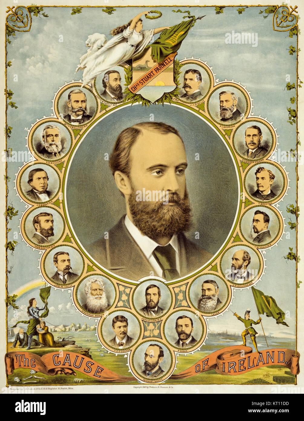 Ein Plakat aus dem Jahr 1891, in Amerika gedruckt, die Irische Nachfrage nach Home Rule. In der Mitte ist ein Porträt Stockbild