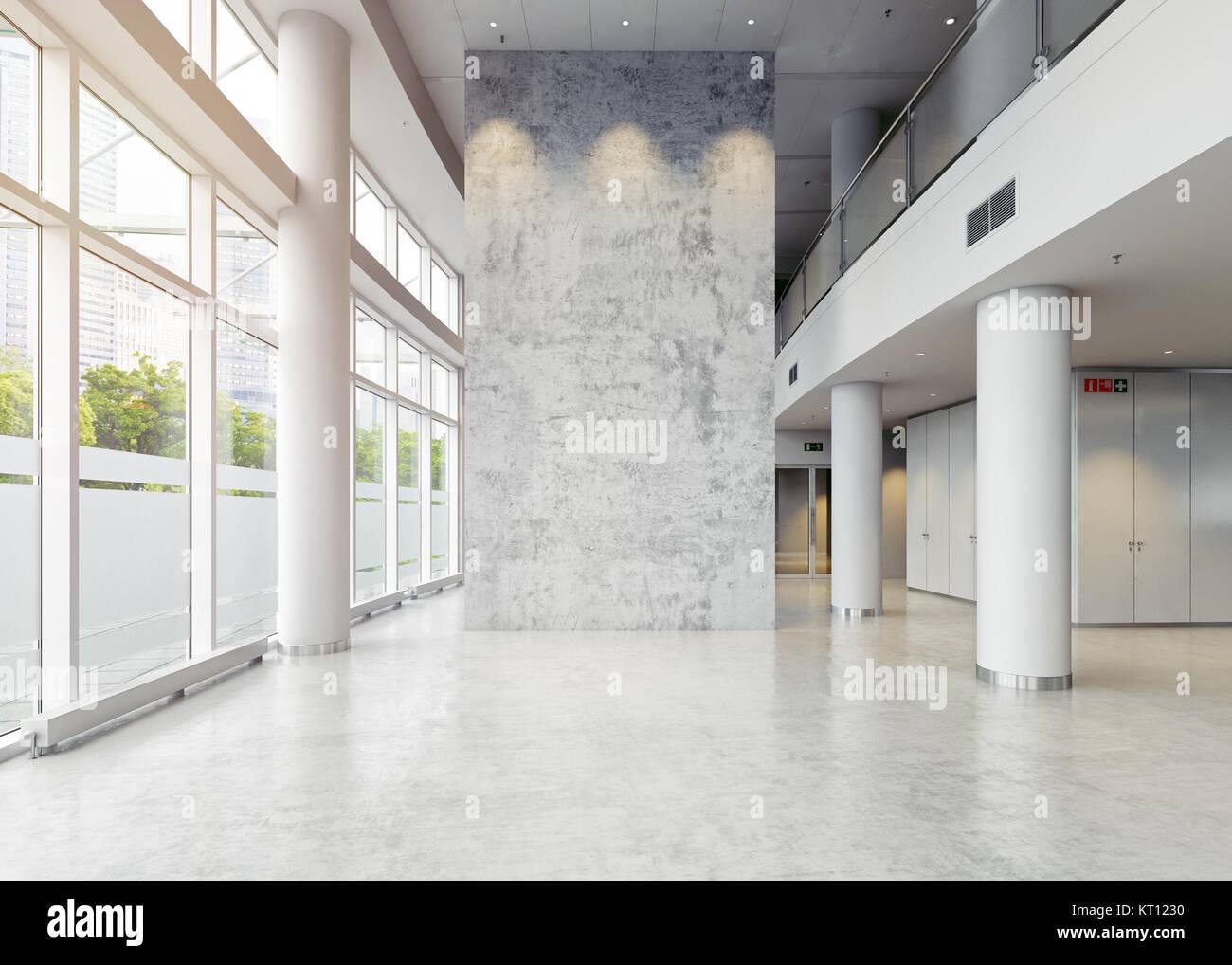 Moderne Unternehmen Halle Architektur. 3D-Konzept Stockbild