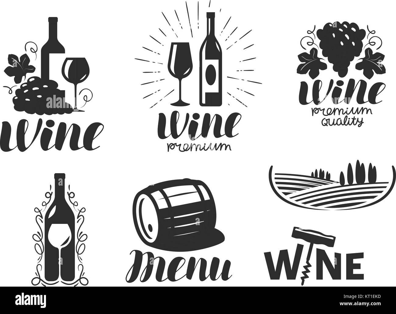 Wein, Weingut Logo. Getränke, alkoholische Getränke Symbol oder Icon ...
