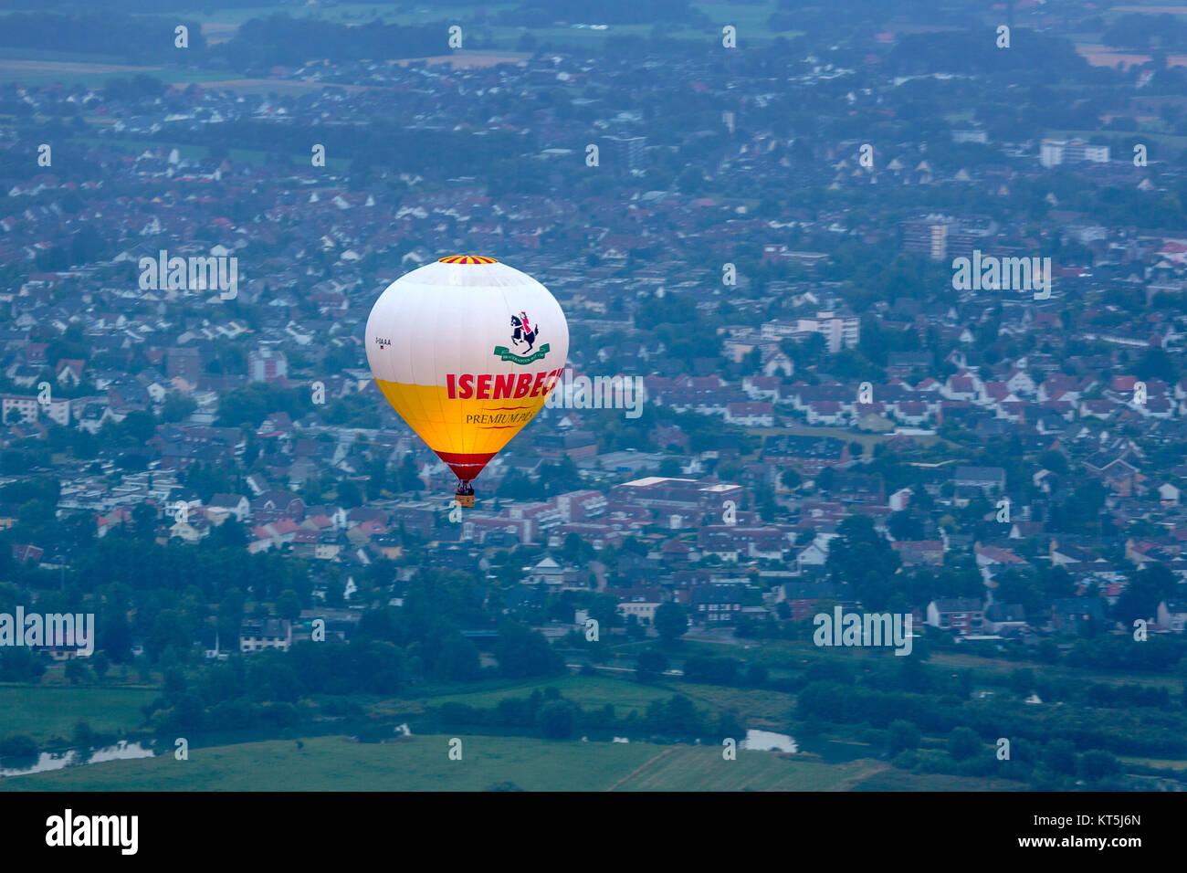 Heißluft-Ballon, Ballonfahrt über den Hammer Osten, Ballon Sport, Hamm, Ruhrgebiet, Nordrhein-Westfalen, Deutschland, Europa, Ruhrgebiet, Europa, aeri Stockfoto