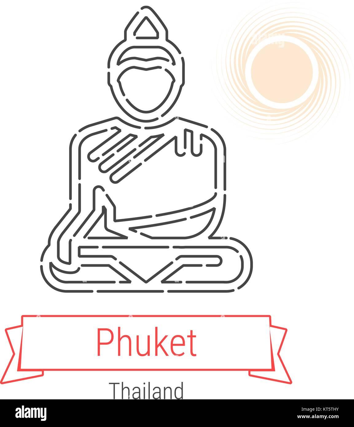 Phuket, Thailand Vektorlinie Symbol mit rotem Band isoliert auf ...