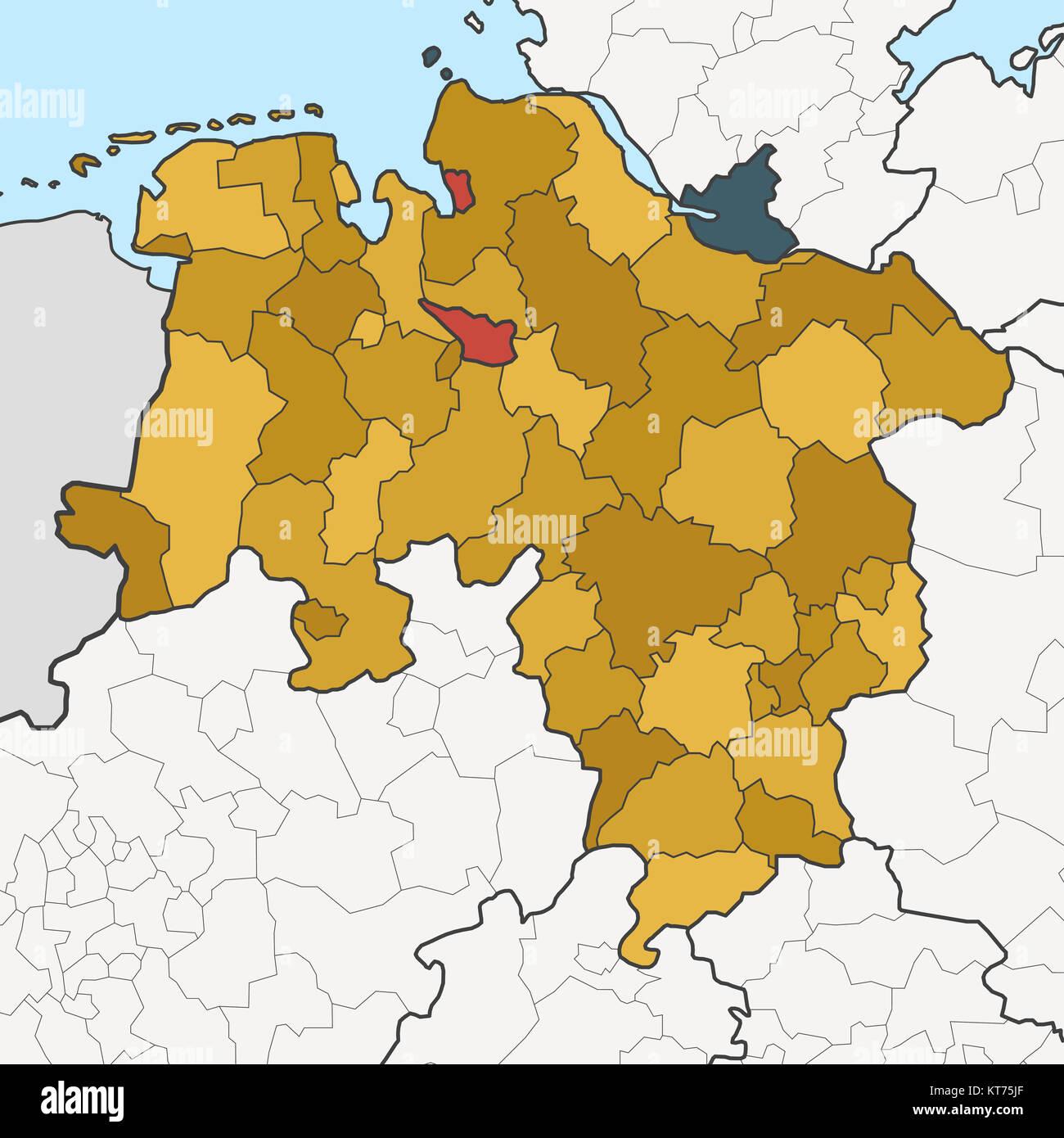 Karte Von Deutschland Bundesland Niedersachsen Mit Benachbarten