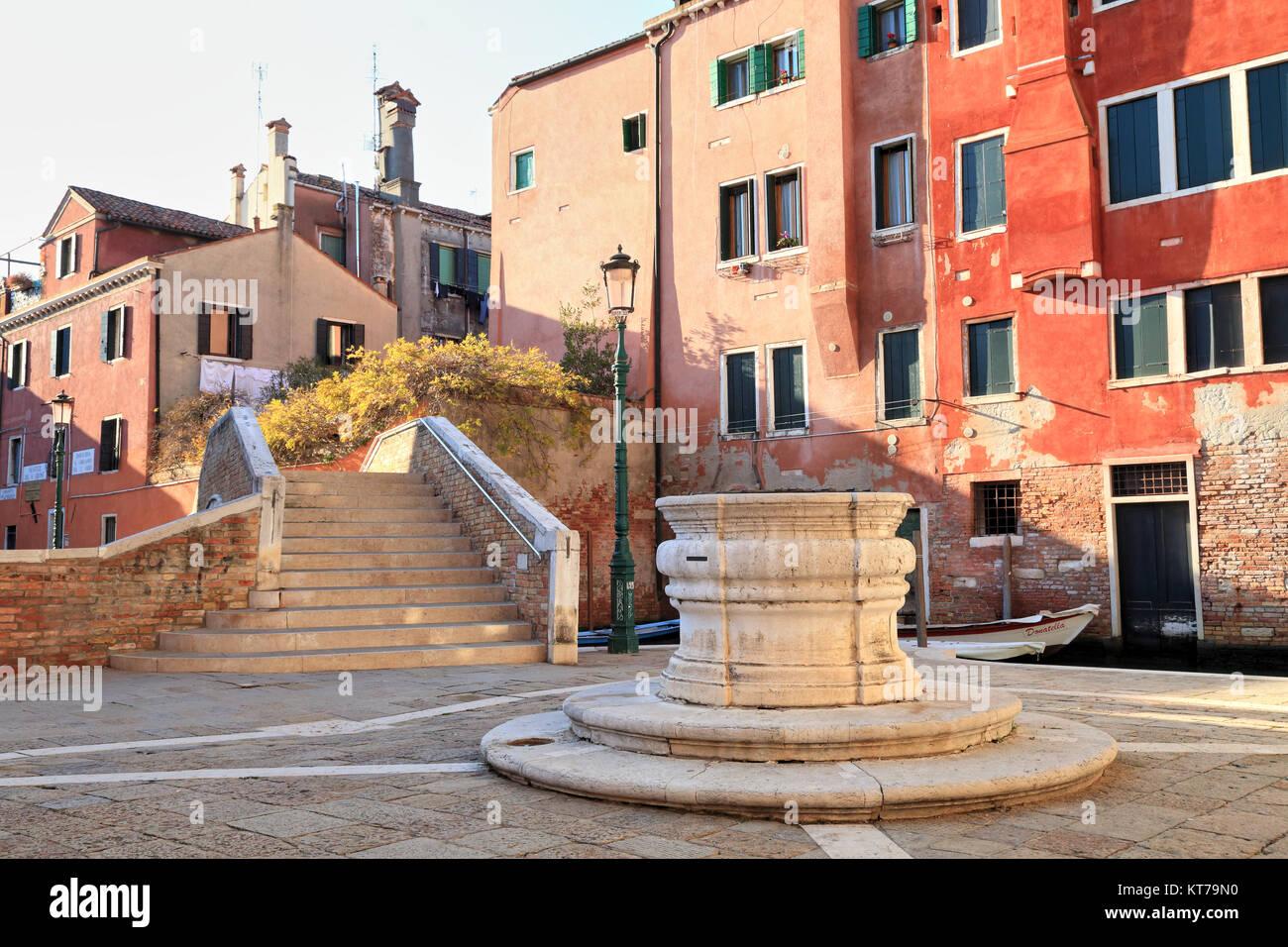 Campo San Boldo mit Pozzo Wasser gut, San Polo Sestiere di Stockbild