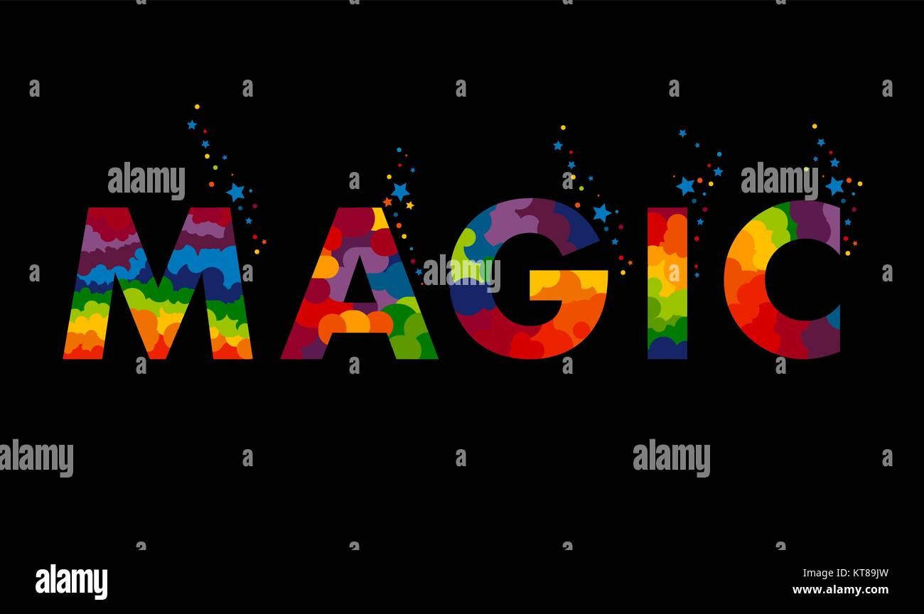 Hand Wort Magie mit einer Textur von farbigen Lametta auf schwarzem ...