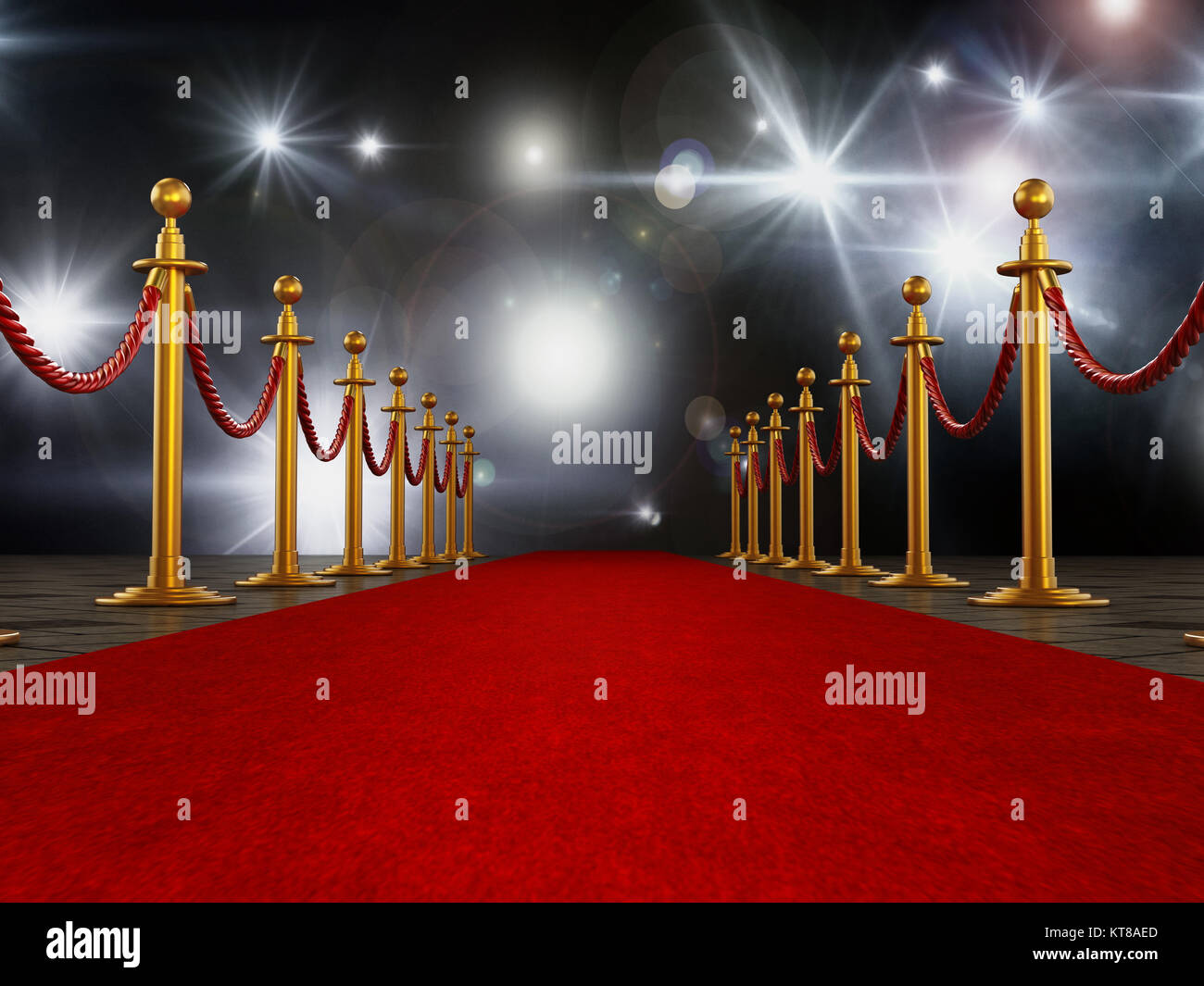 Roter Teppich und samt Seile auf Gala Nacht Hintergrund. 3D-Darstellung. Stockbild